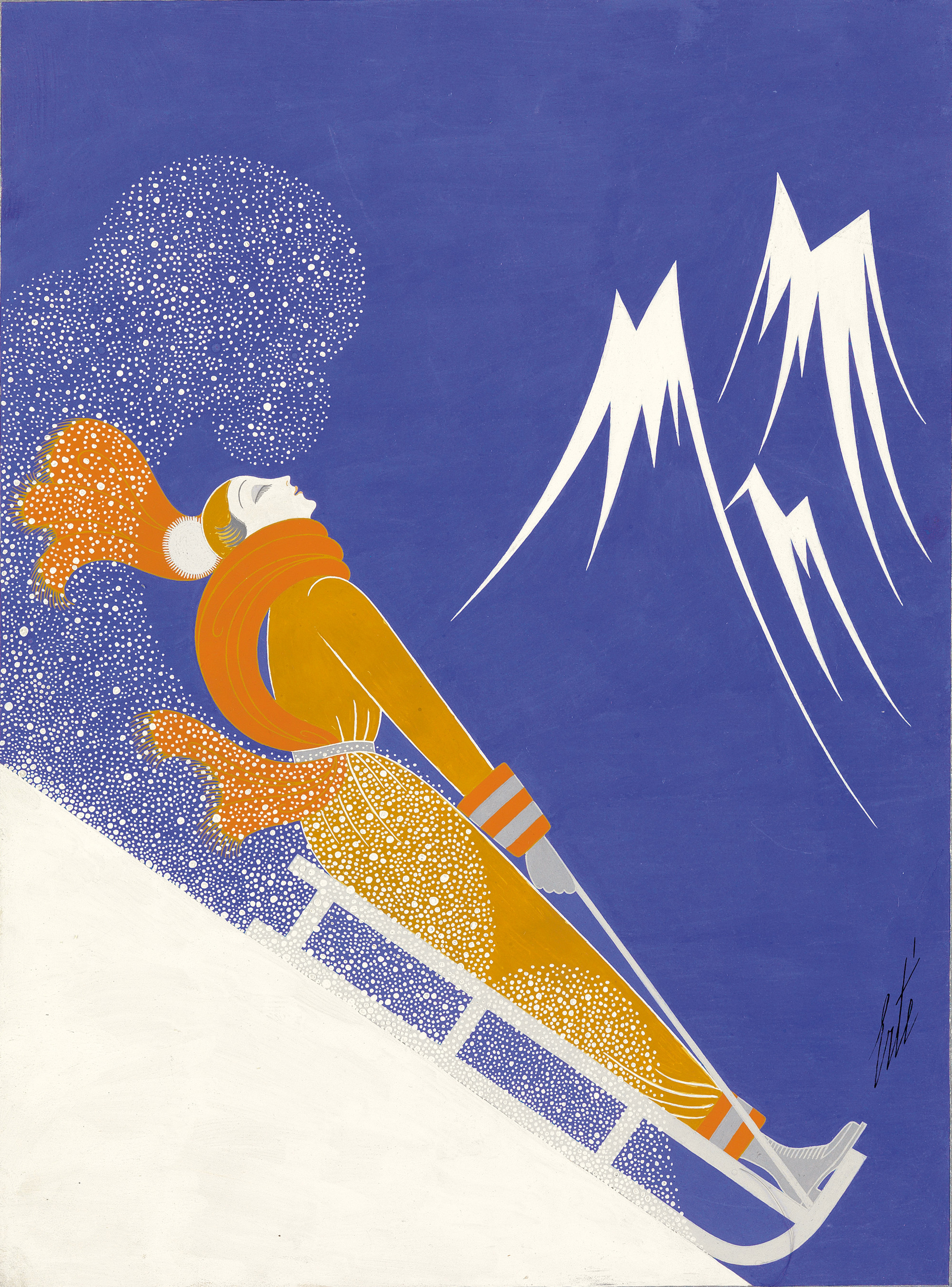 An original gouache on board, Sports d'Hiver, created by Erté for the February 1933 cover of Harper's Bazaar.