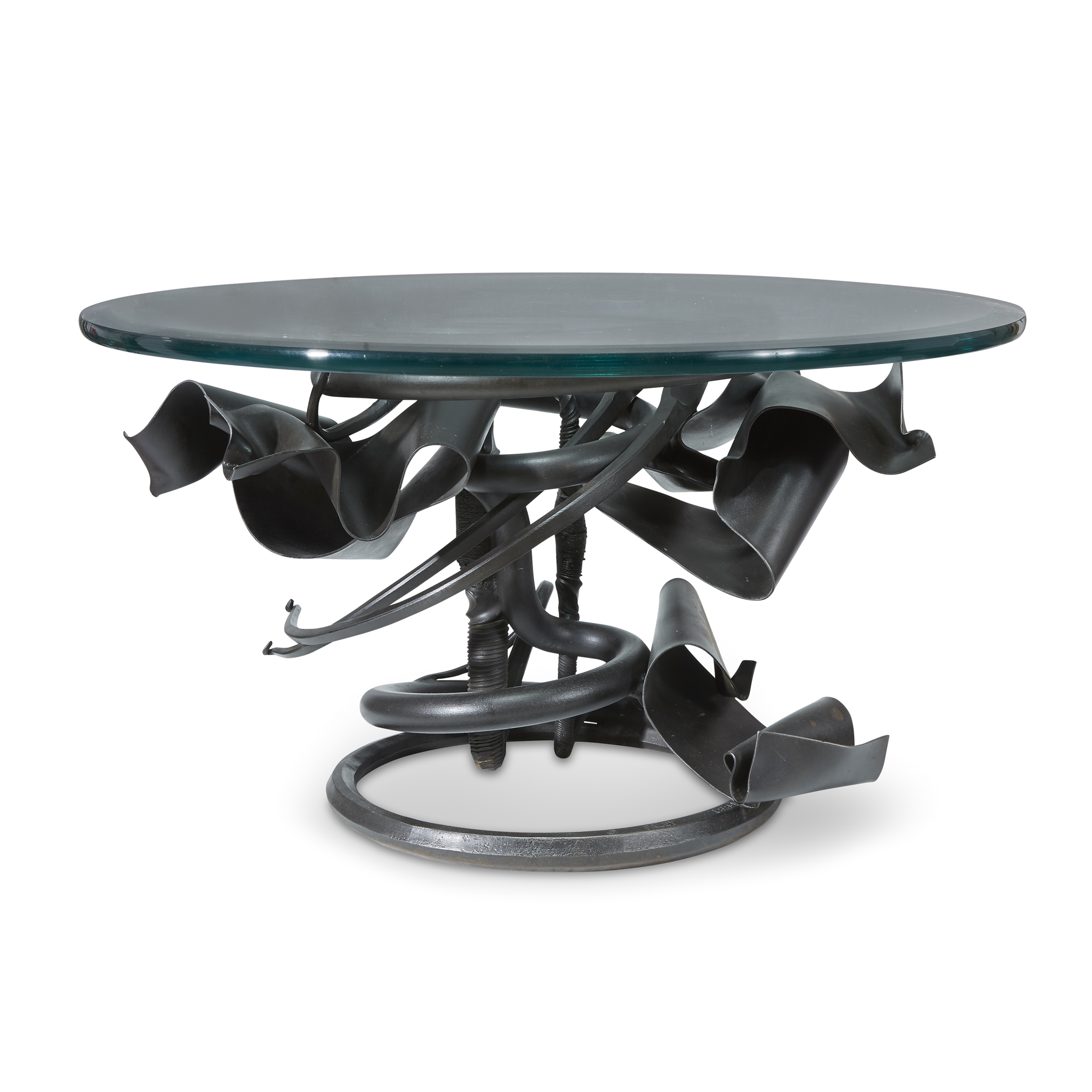 A coffee table created in 1991 by American sculptor Albert Paley.