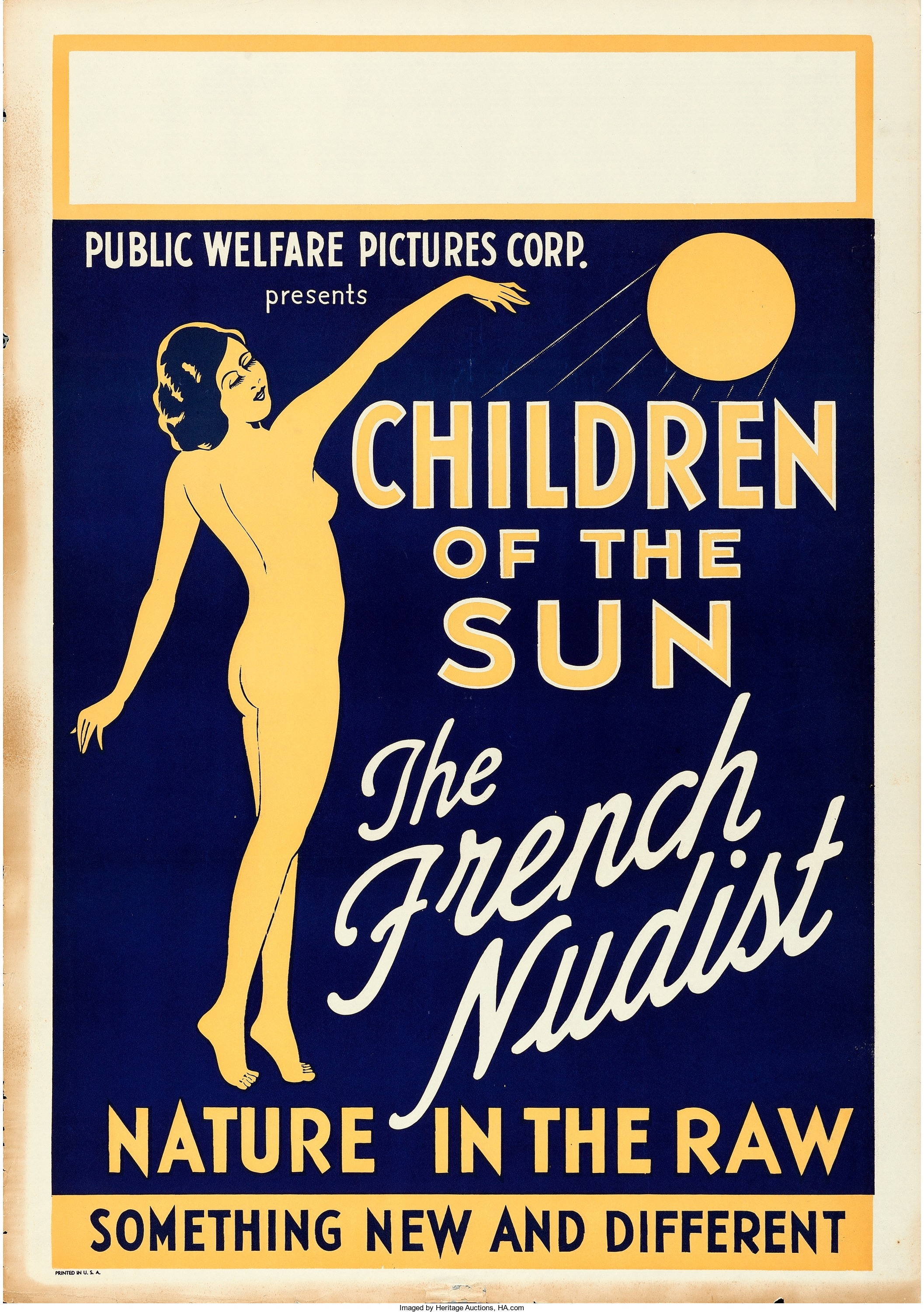 A movie poster for the 1934 nudist film Children of the Sun, which Heritage Auctions estimates at $400 to $800.