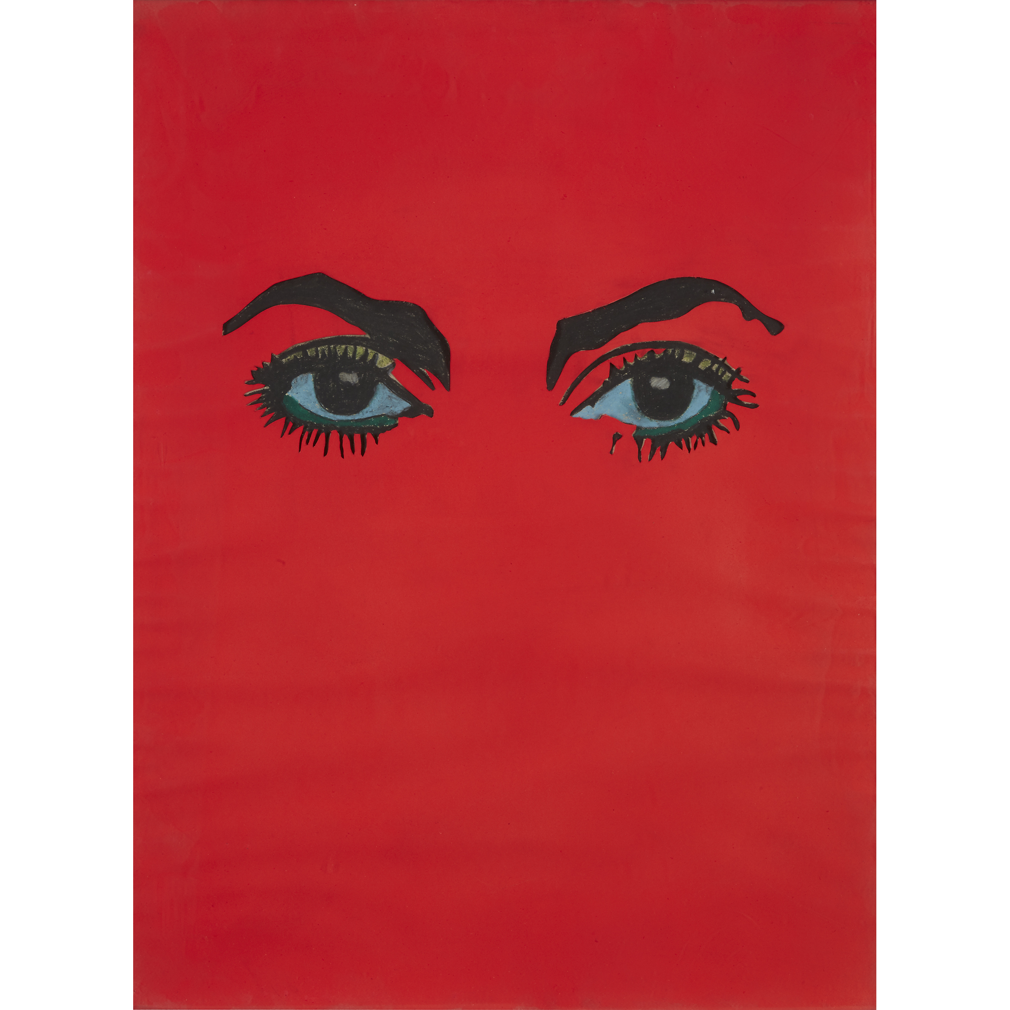 "UNTITLED (EYES), a 1963 mixed media collage by the French artist Martial Raysse. He inscribed it, ""To Stanley Bard Avec l'amitié de Martial Raysse (To Stanley Bard, with the friendship of Martial Raysse)."""