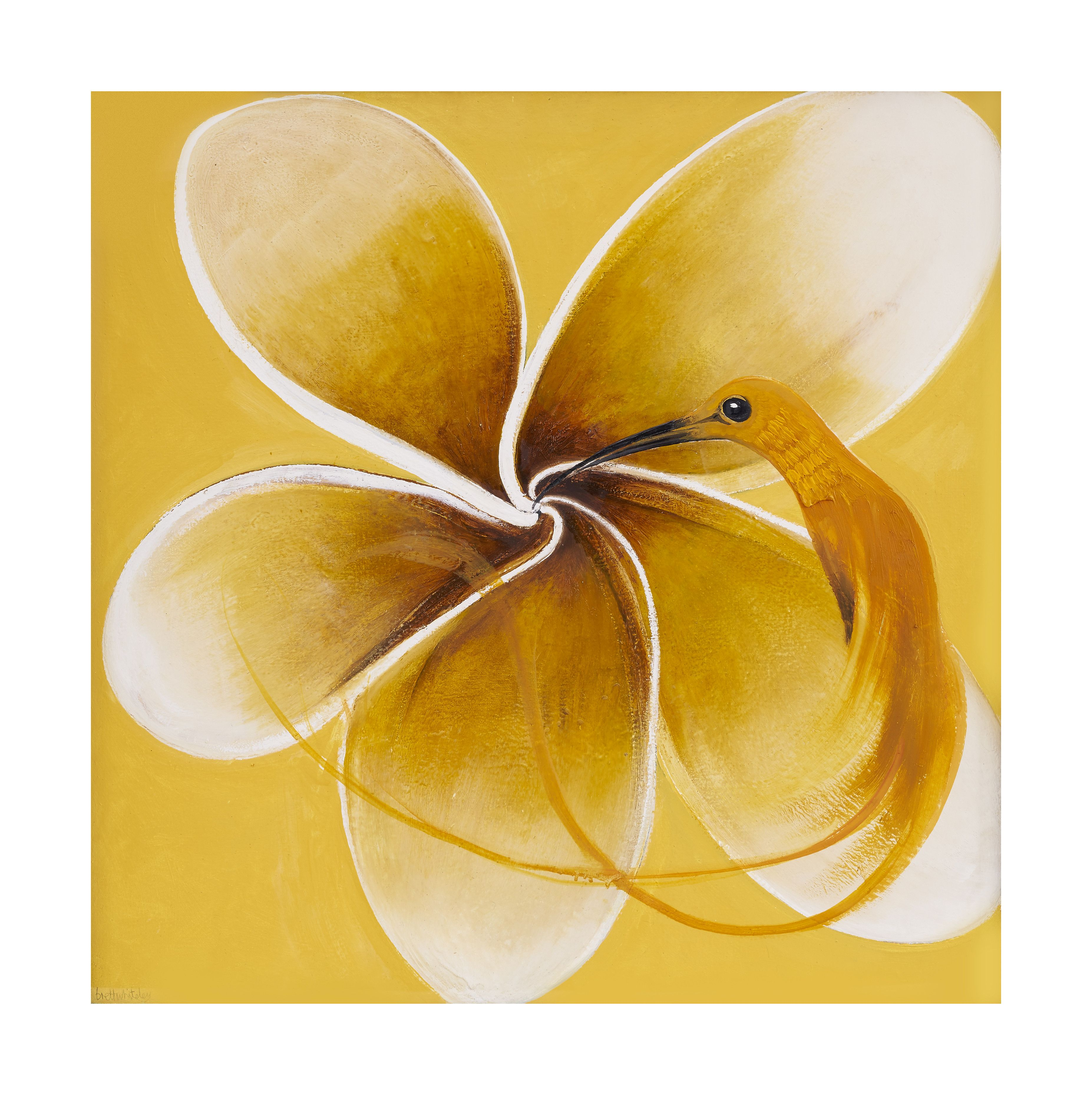 Hummingbird and Frangipani, a 1986 oil on board by Australian artist Brett Whiteley. It comes directly from its original owner to Bonhams, which estimates it at $280,000 to $350,000 in Australian dollars, or $210,000 to $260,000 in U.S. dollars.
