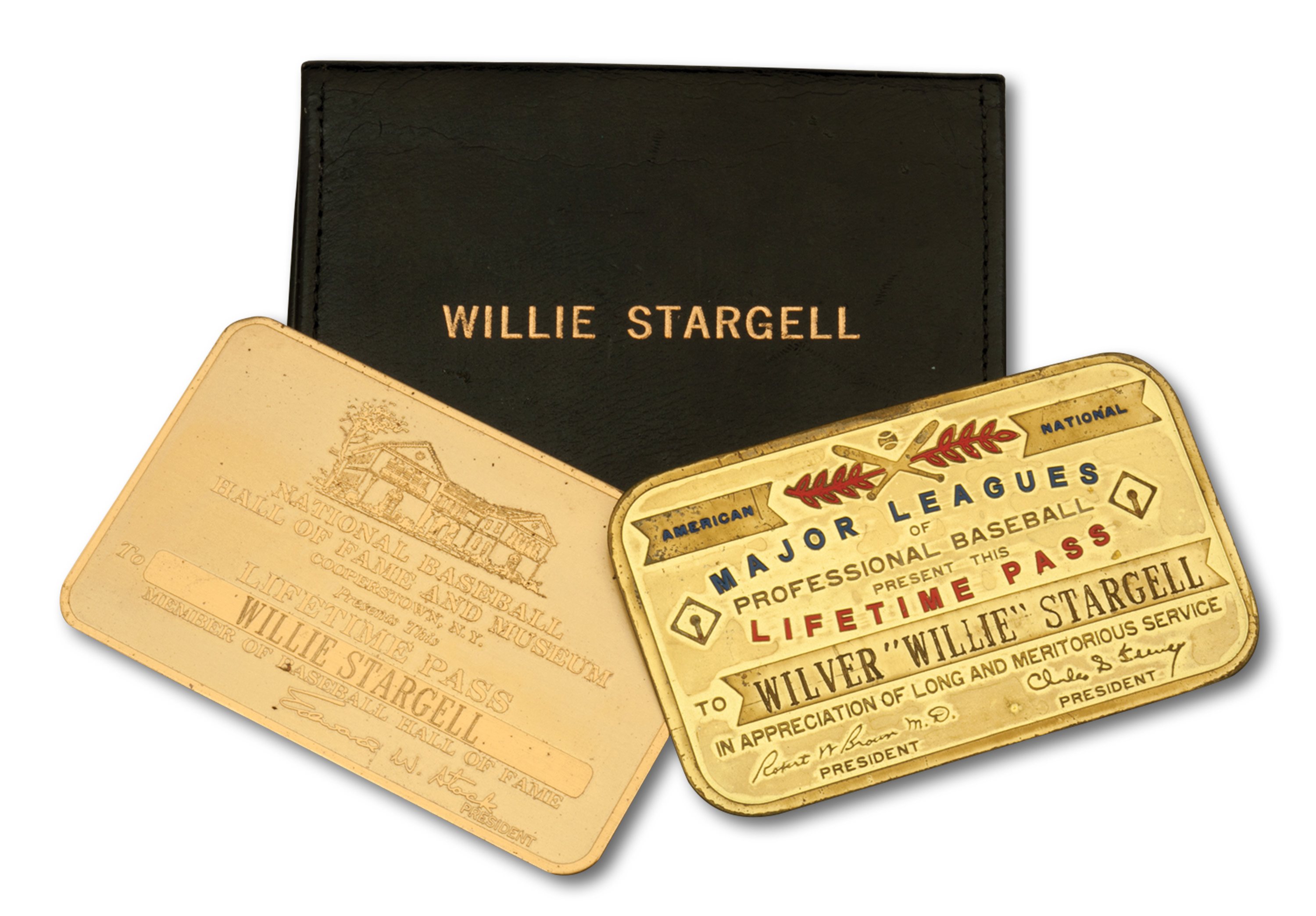 The Major League Baseball (MLB) and National Baseball Hall of Fame and Museum lifetime passes that belonged to Willie Stargell.