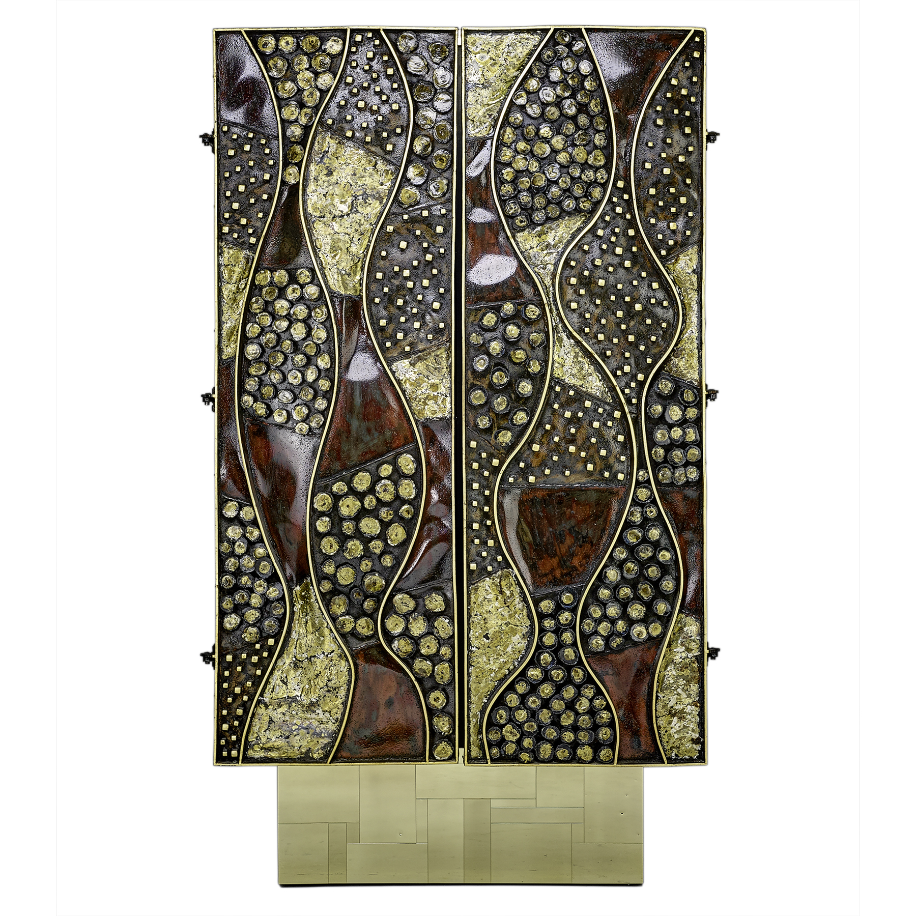 A unique vertical cabinet made by Paul Evans, featuring steel, 23 karat gold leaf, brass, and enameled finish. It stands just over seven feet tall, about four feet wide, and about 18 inches deep. It sold for $382,000 against a $140,000 to $160,000 estimate at Rago Auctions in January 2017, an auction record for Evans.
