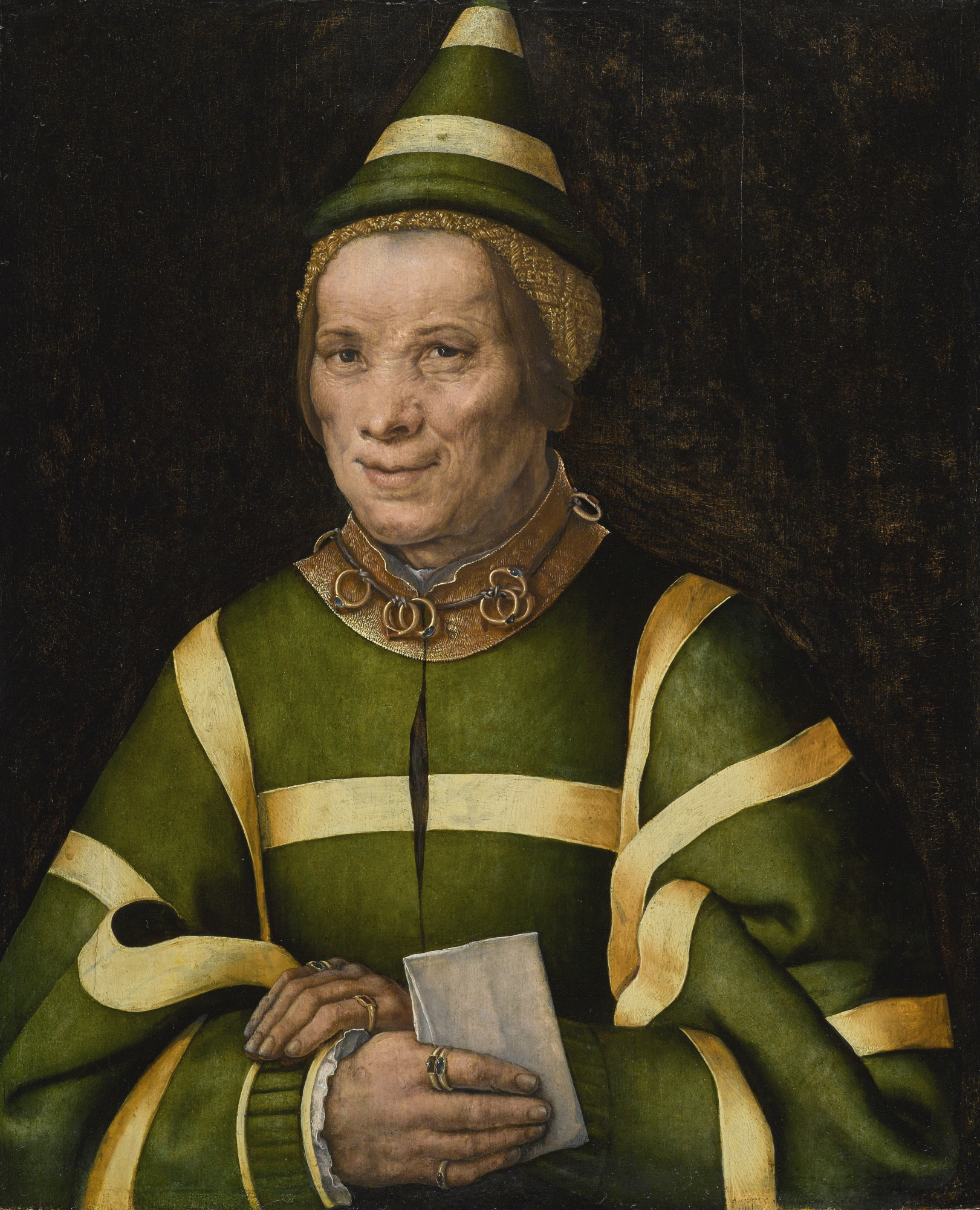 A 16th century oil on oak panel portrait of Elisabet, court fool of Anne of Hungary, painted by Jan Sanders van Hemessen.