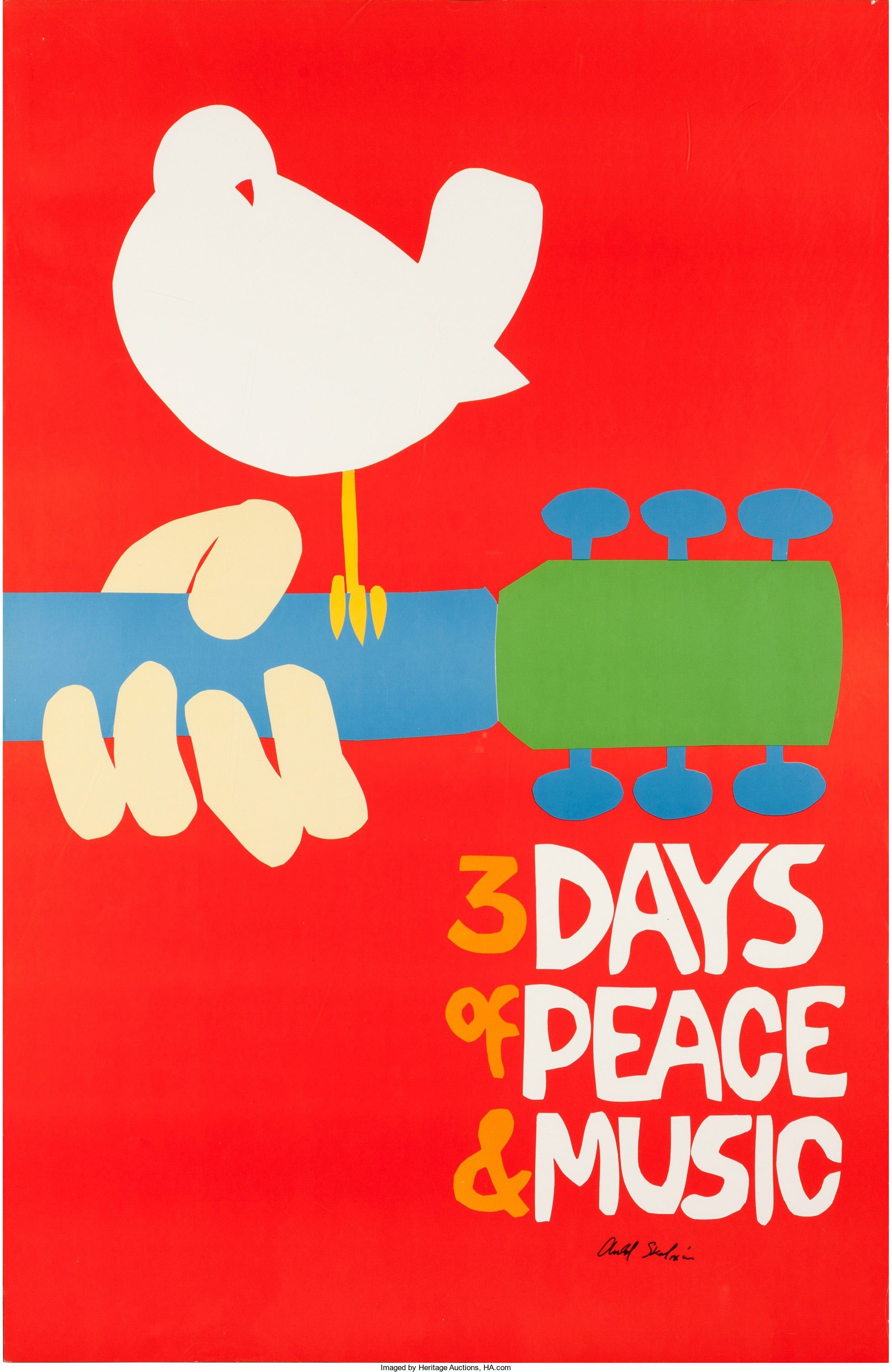 An original 1969 Woodstock concert poster that lacks its small text and is autographed by designer Arnold Skolnik.