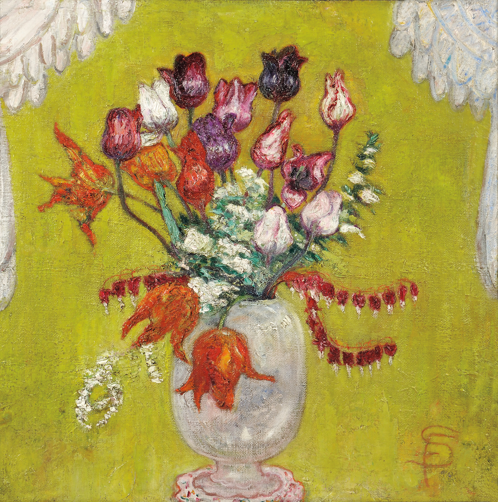 An undated floral still life by Florine Stettheimer. Skinner sold it in January 2016 for $375,000 against an estimate of $75,000 to $100,000, a record for the artist at auction.