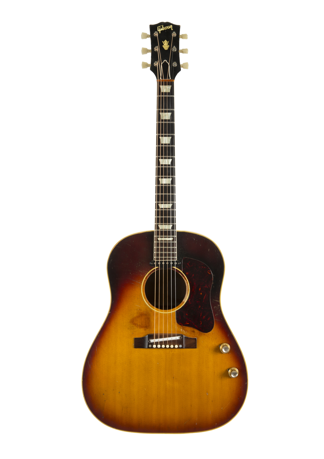 A 1962 Gibson acoustic guitar, owned and used by John Lennon. Julien's Auctions sold it in November 2015 for $2.4 million--a record for any guitar at auction.