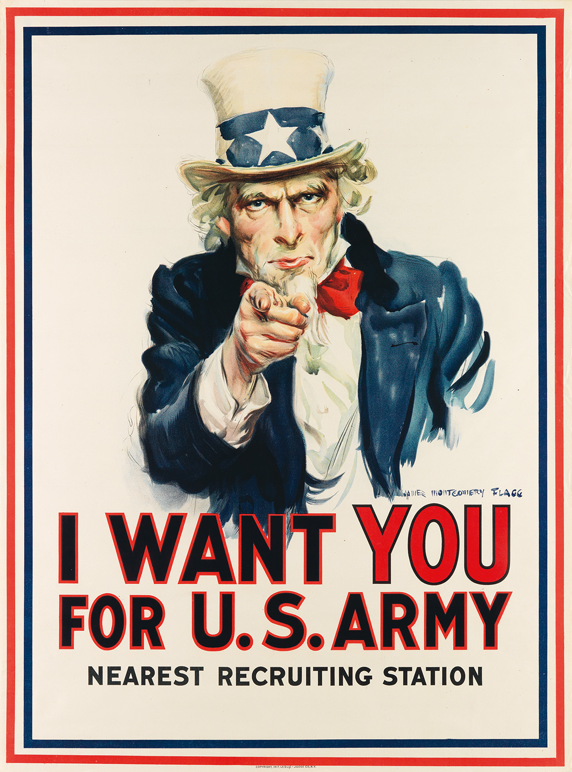 A 1917 American recruiting poster for World War I, illustrated by James Montgomery Flagg.