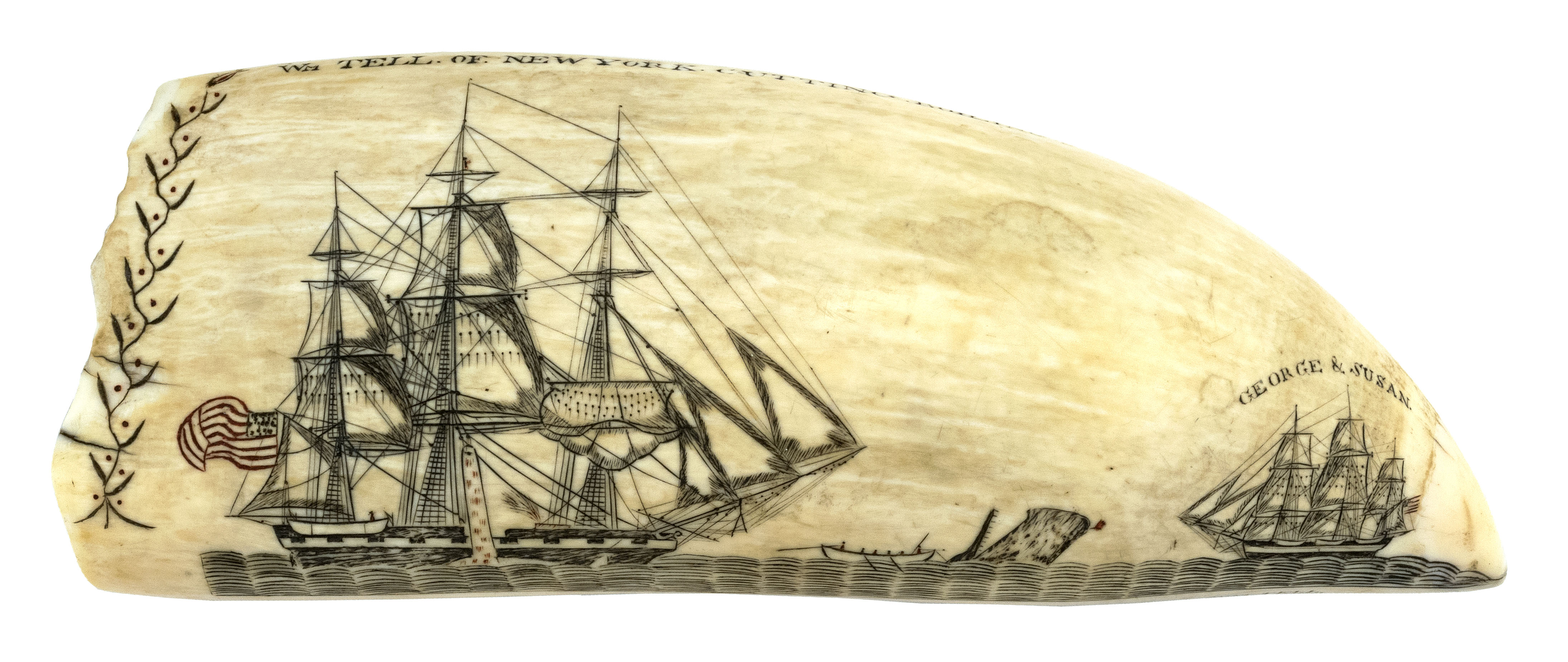 "A scrimshaw whale's tooth by Edward Burdett, made in the early 1830s and inscribed, in block letters, ""Engraved by Edward Burdett of Nantucket Onboard the Ship William Tell."" It shows a scene of the William Tell capturing a whale while another ship, the George and Susan, floats nearby. On the back, it shows another whaleship, the William Thomson, sailing near a coastline."