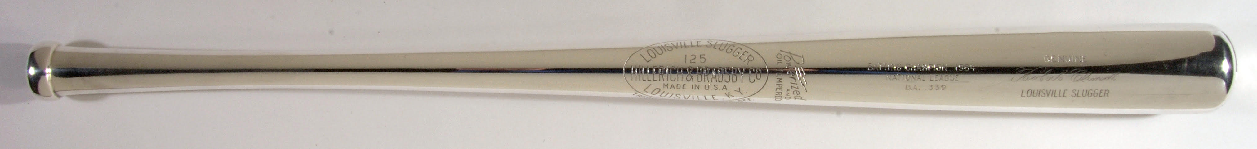 A National League Championship Silver Bat award, given to Roberto Clemente in 1967. Hunt Auctions sold it in July 2017, during the All-Star festivities in Miami, for $420,000--a record for a silver bat award at auction.