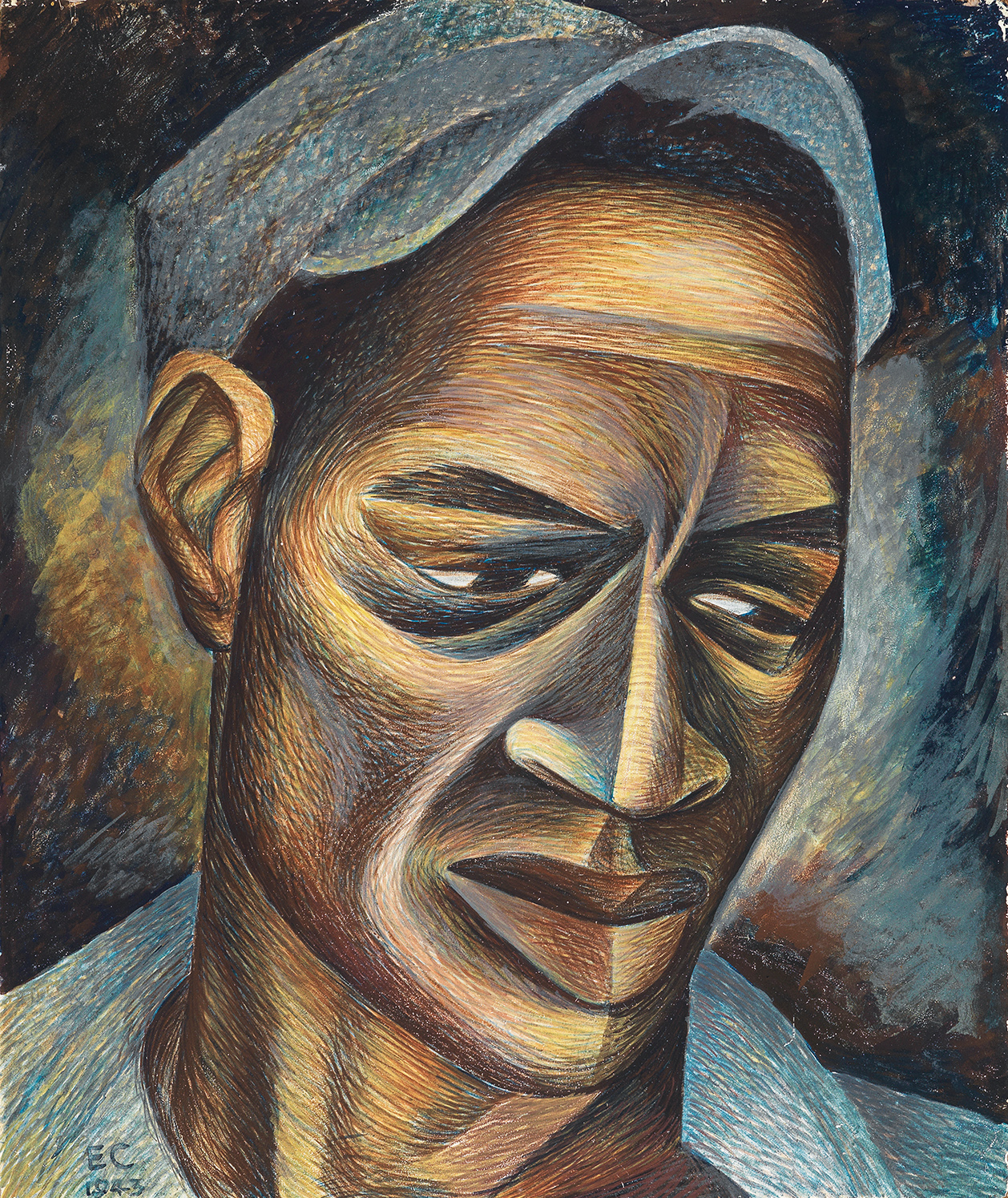 War Worker, a 1943 tempera-on-board by Elizabeth Catlett.