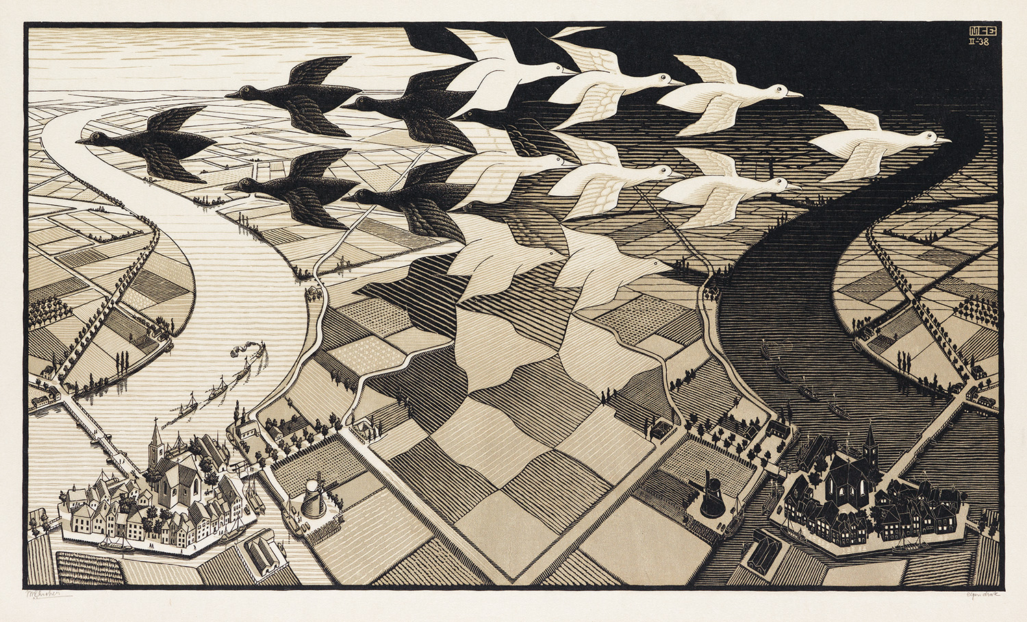 M. C. Escher's Day and Night, a 1935 print.