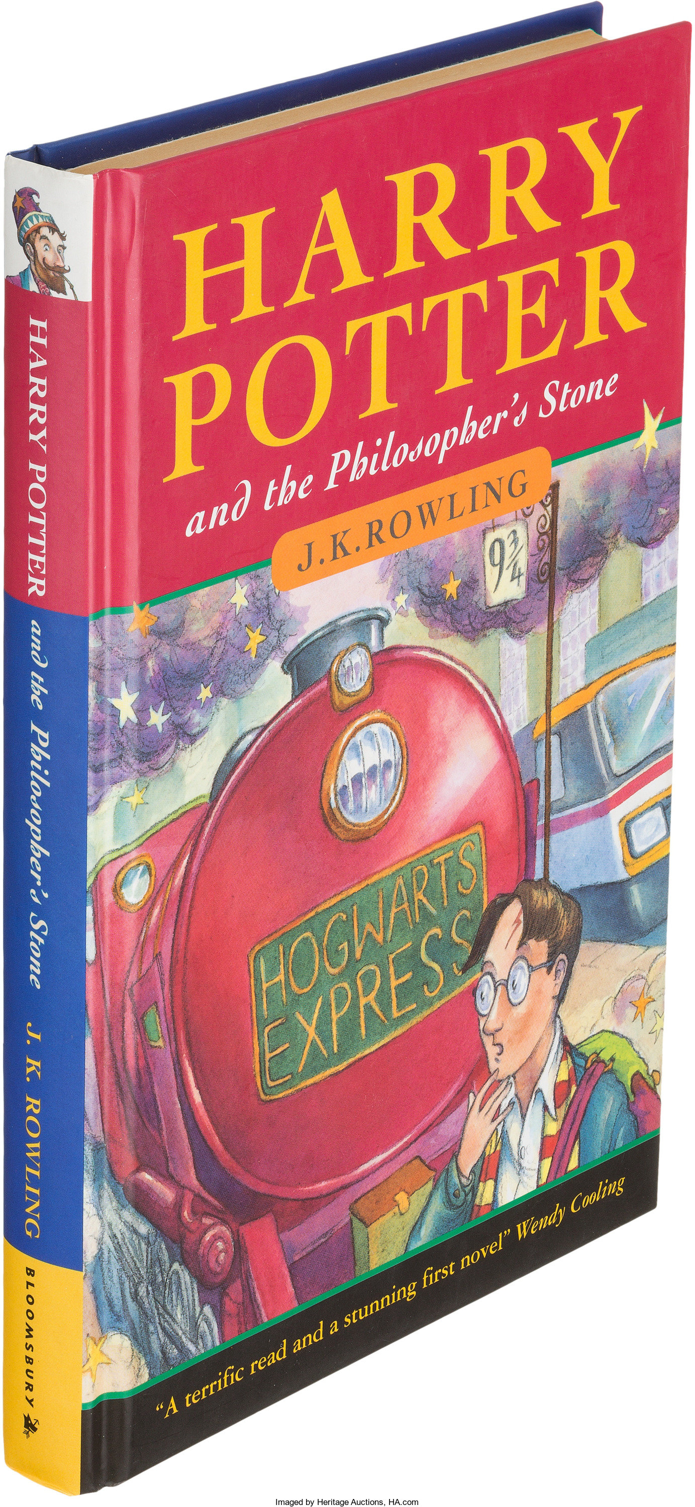 A British first edition of Harry Potter and the Philosopher's Stone, published in 1997.