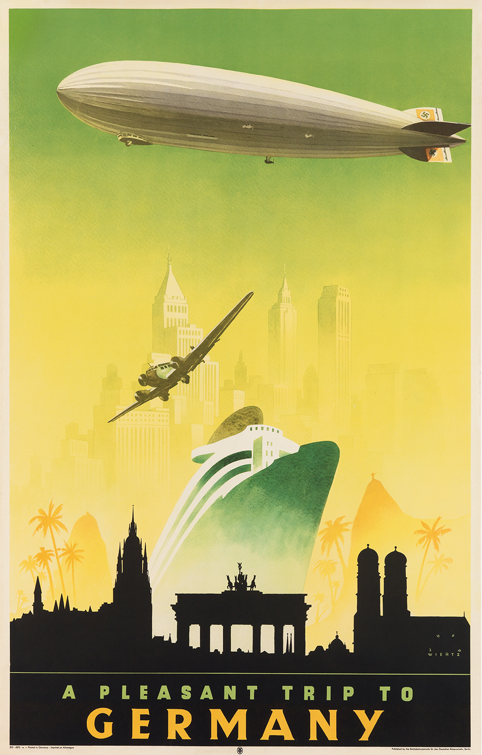 A mid-1930s German travel poster that includes the Hindenburg zeppelin.