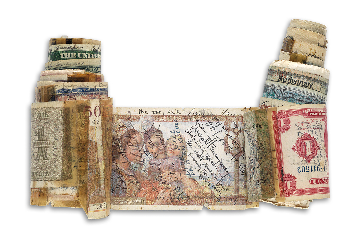 A short snorter--a collection of paper money covered with autographs--compiled by Marlene Dietrich during World War II. It comes directly from Dietrich's descendants to Swann Auction Galleries, which estimates it at $3,000 to $5,000.