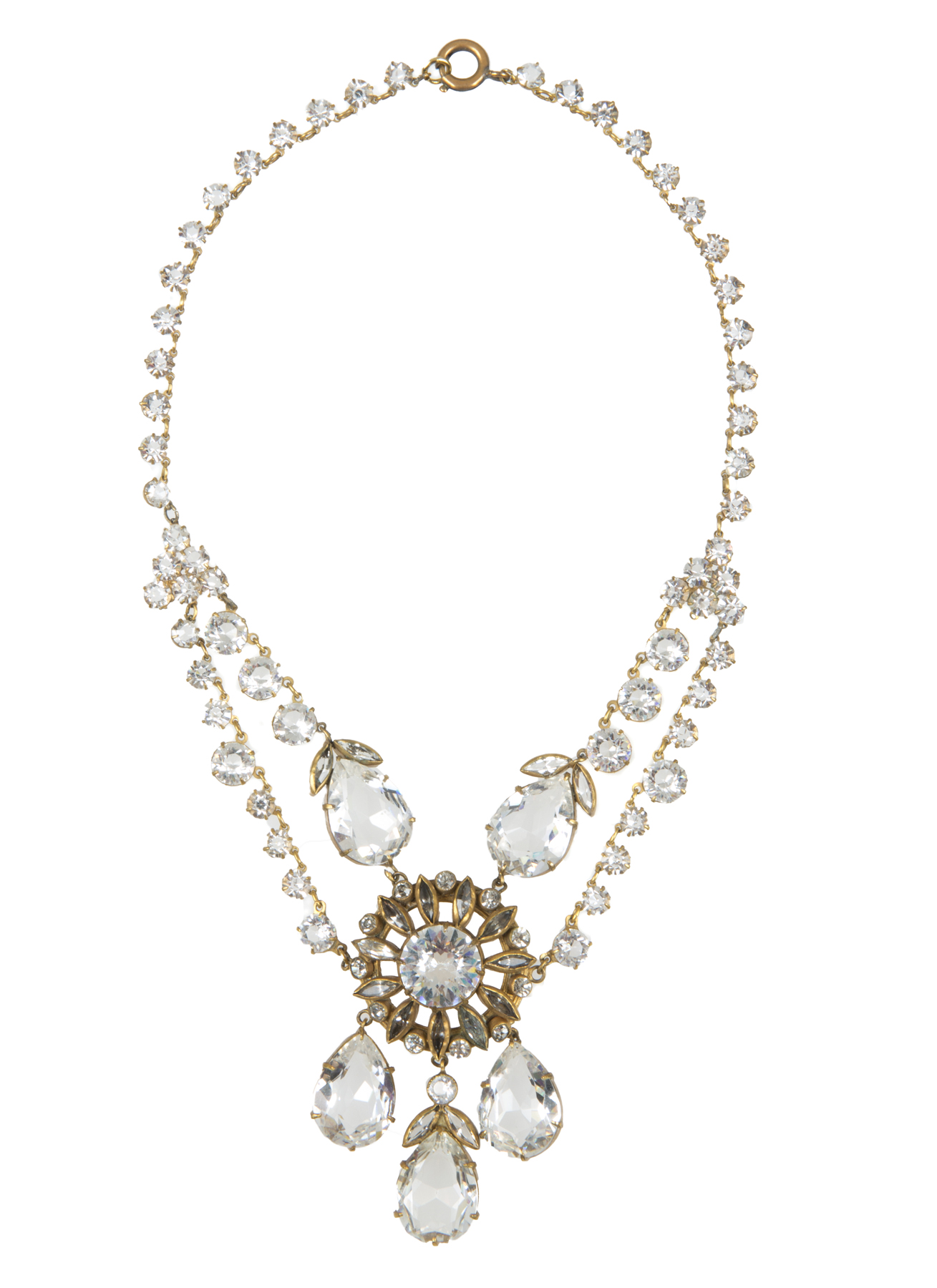 A simulated diamond necklace by Joseff of Hollywood, dating to the mid-1930s, and worn by more than half a dozen celebrities on screen.