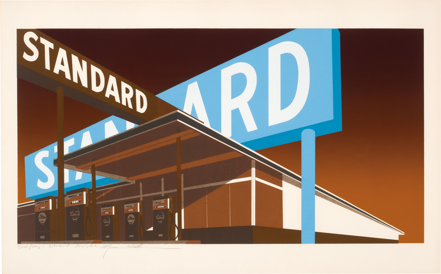 Double Standard, a 1969 screenprint by Ed Ruscha. Los Angeles Modern Auctions (LAMA) set a record for a print by the artist in October 2014 when it sold for $206,250 against an estimate of $50,000 to $70,000.
