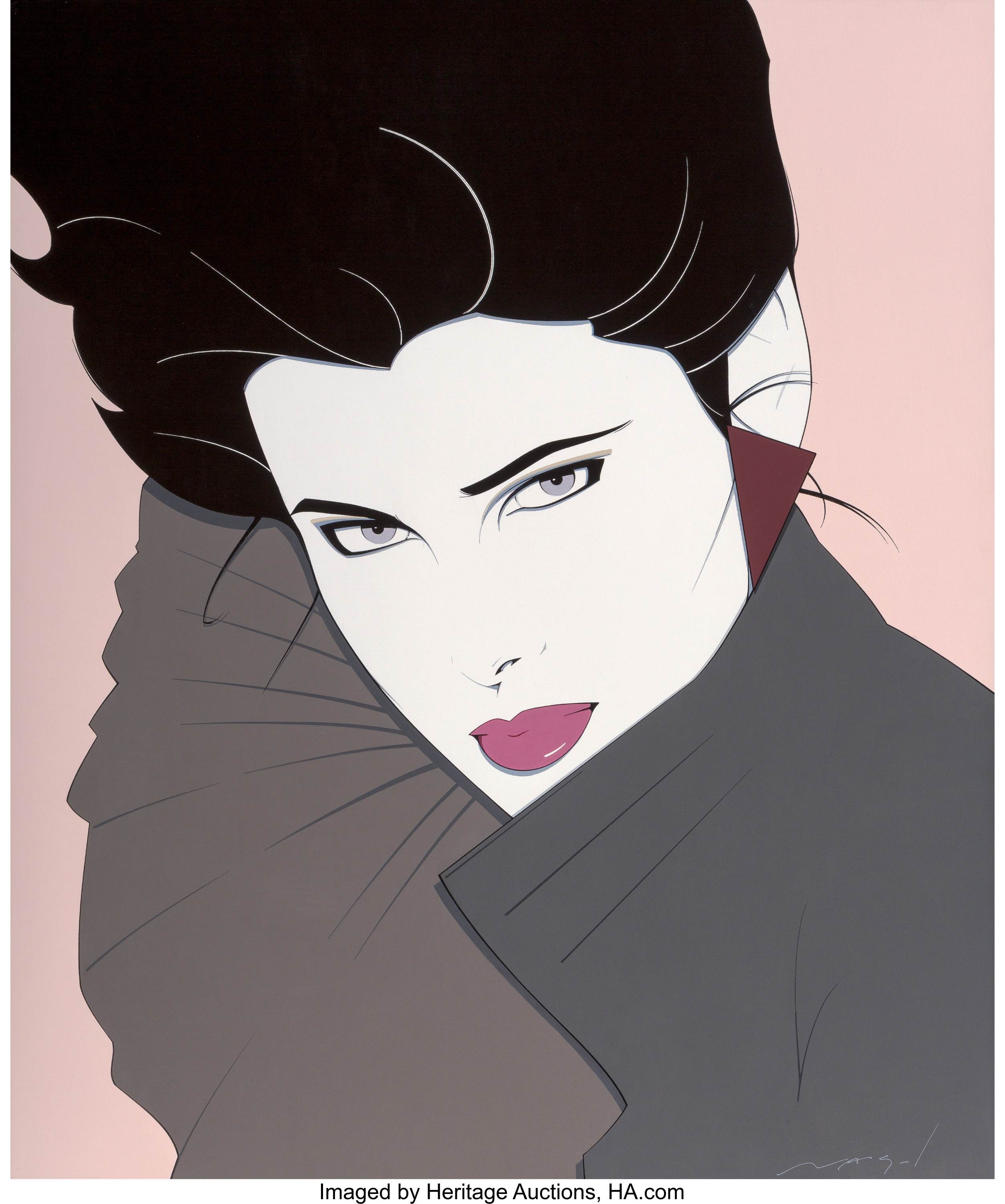 Bold, a circa 1980s painting by Patrick Nagel. Heritage Auctions sold it on October 13, 2017, for $200,000--an auction record for the artist.