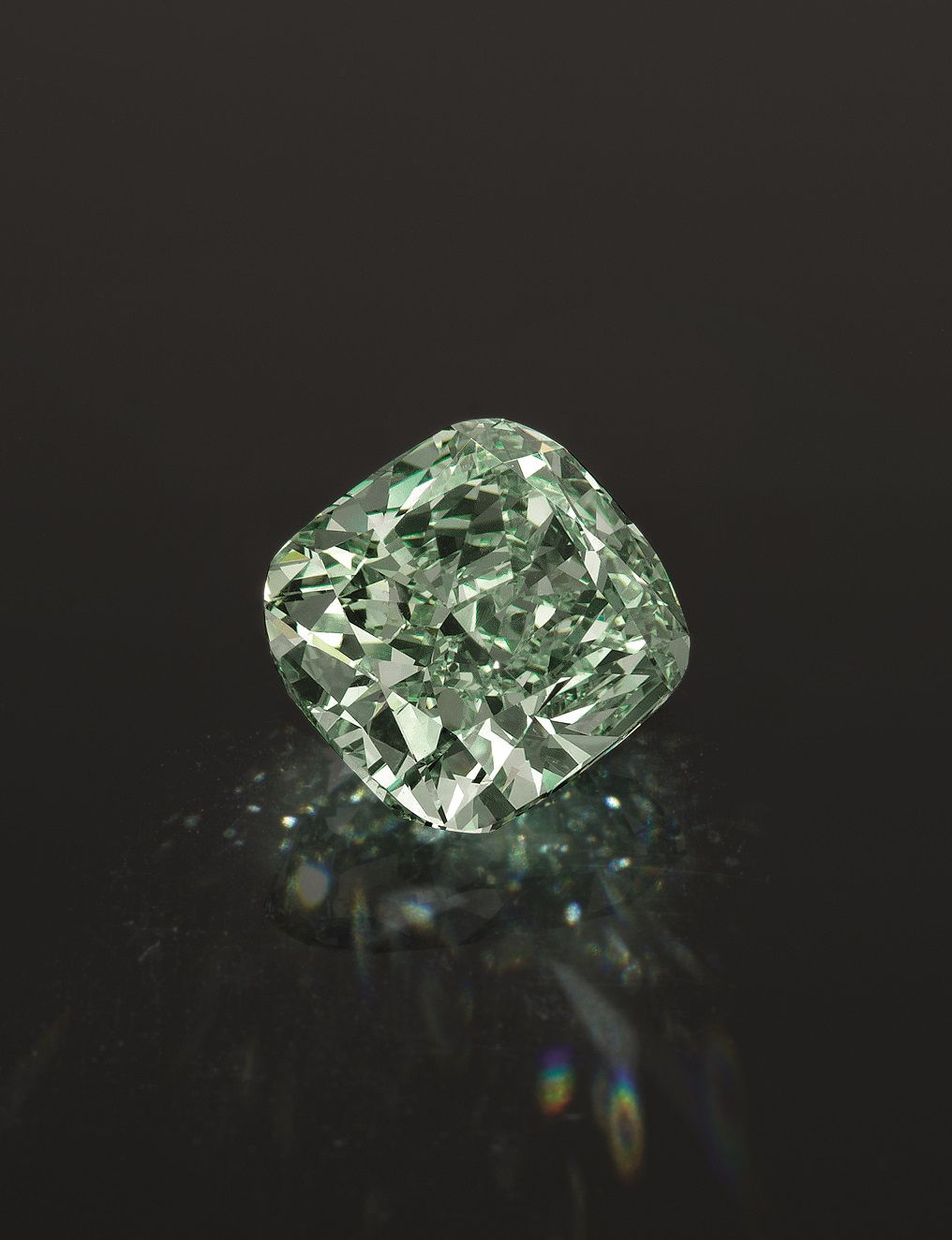 A fancy intense green diamond that weighs 5.62 carats.
