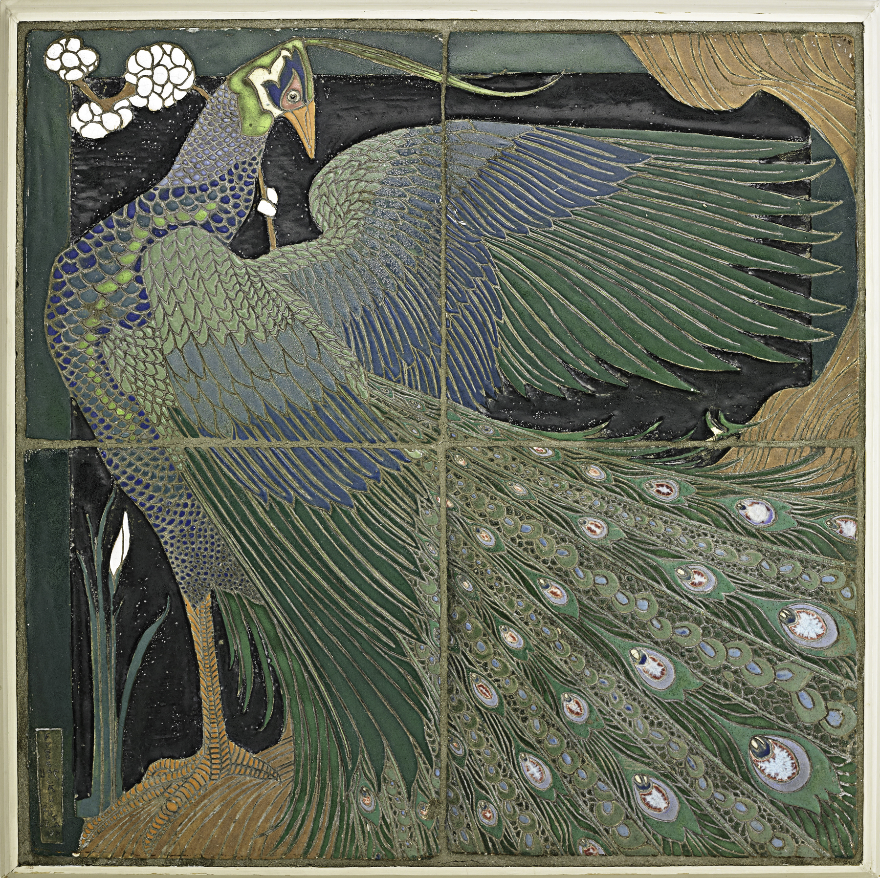 A unique, large four-tile panel depicting a peacock, made by Frederick Hurten Rhead in 1910 for a friend, Levi Burgess. Rago Auctions estimated the panel at $35,000 to $45,000 and sold it in October 2012 for $637,500--a then-record for any American work of ceramics at auction.