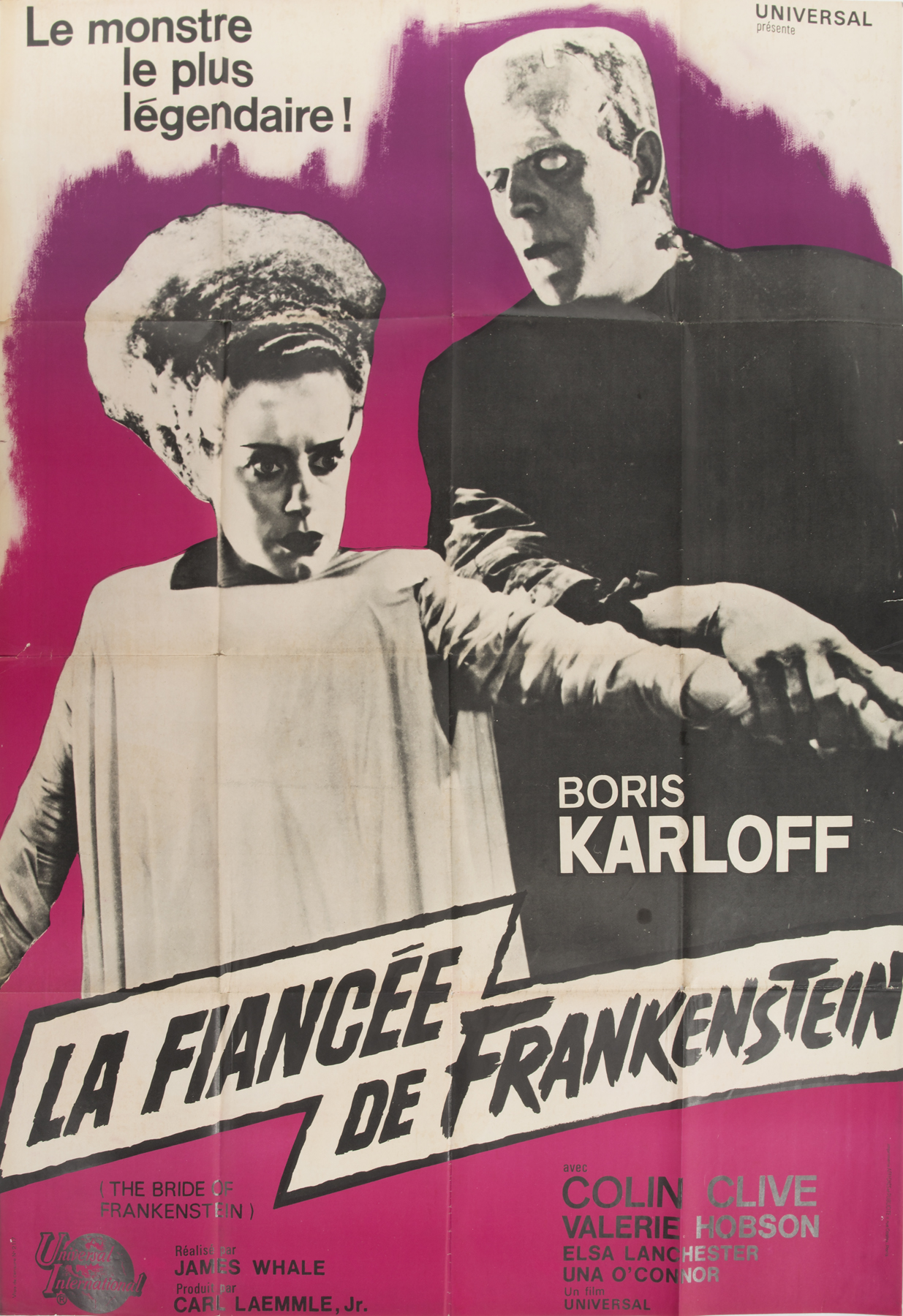 A French poster for the 1964 re-release of the 1935 classic horror movie Bride of Frankenstein