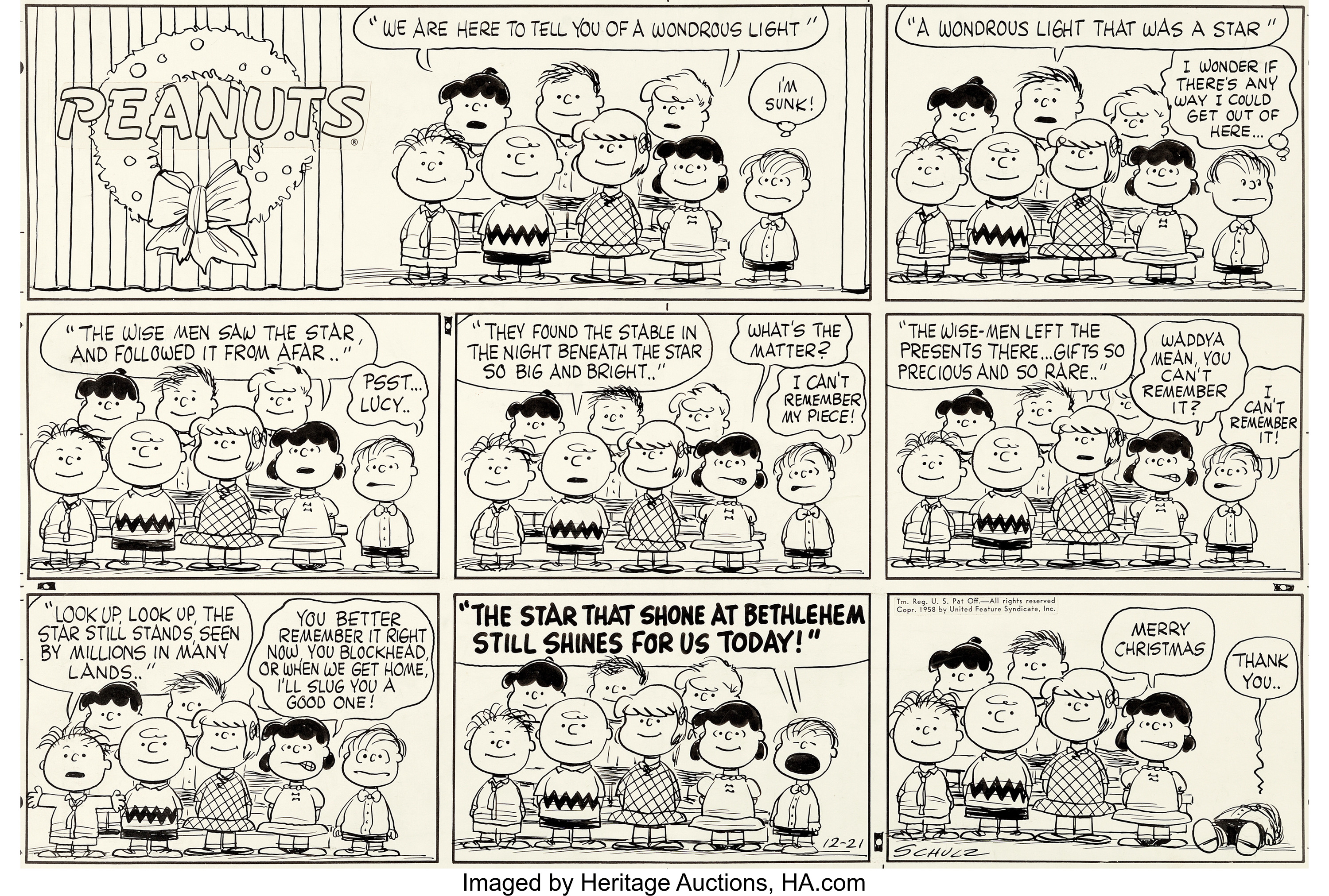An original Sunday Peanuts comic strip, drawn by Charles Schulz and dated 12-21-58.