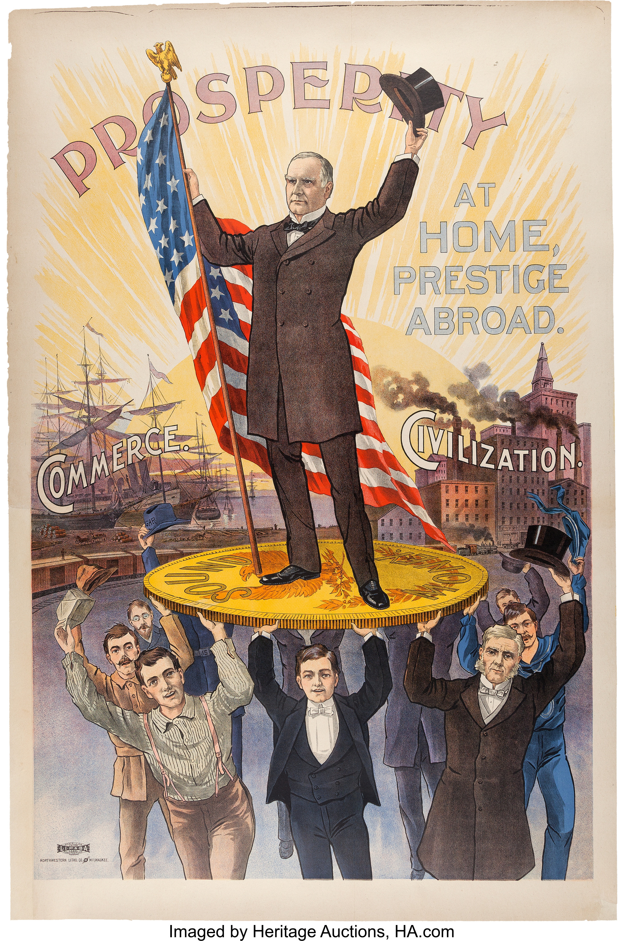 A circa 1900 28-inch-by-42-inch near-mint condition campaign poster for President William McKinley, who was running for a second term.