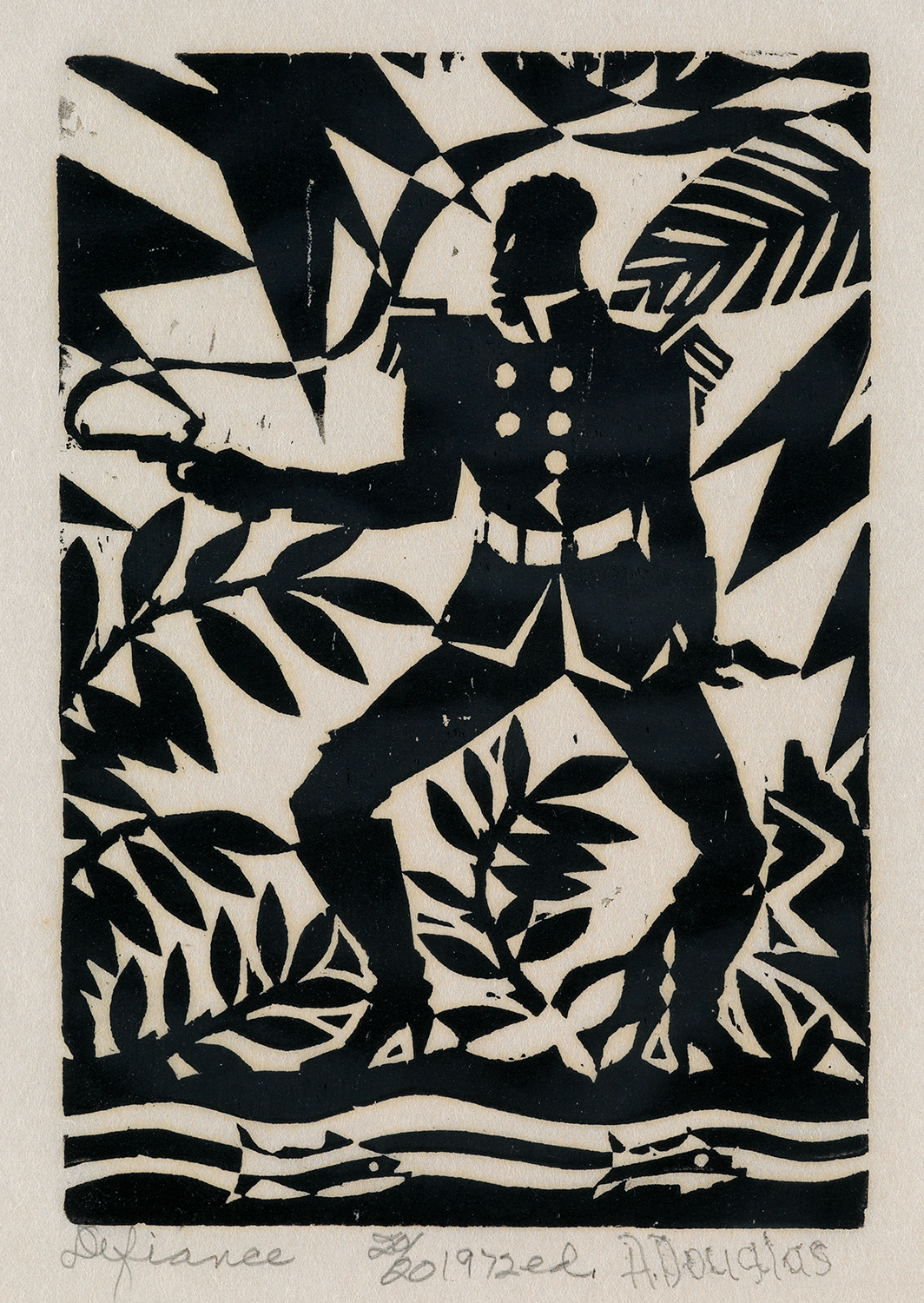 Defiance, one of four prints from the Emperor Jones series by Aaron Douglas. It's from a small group of reprints done with the same wood blocks in 1972, almost 50 years after the originals.