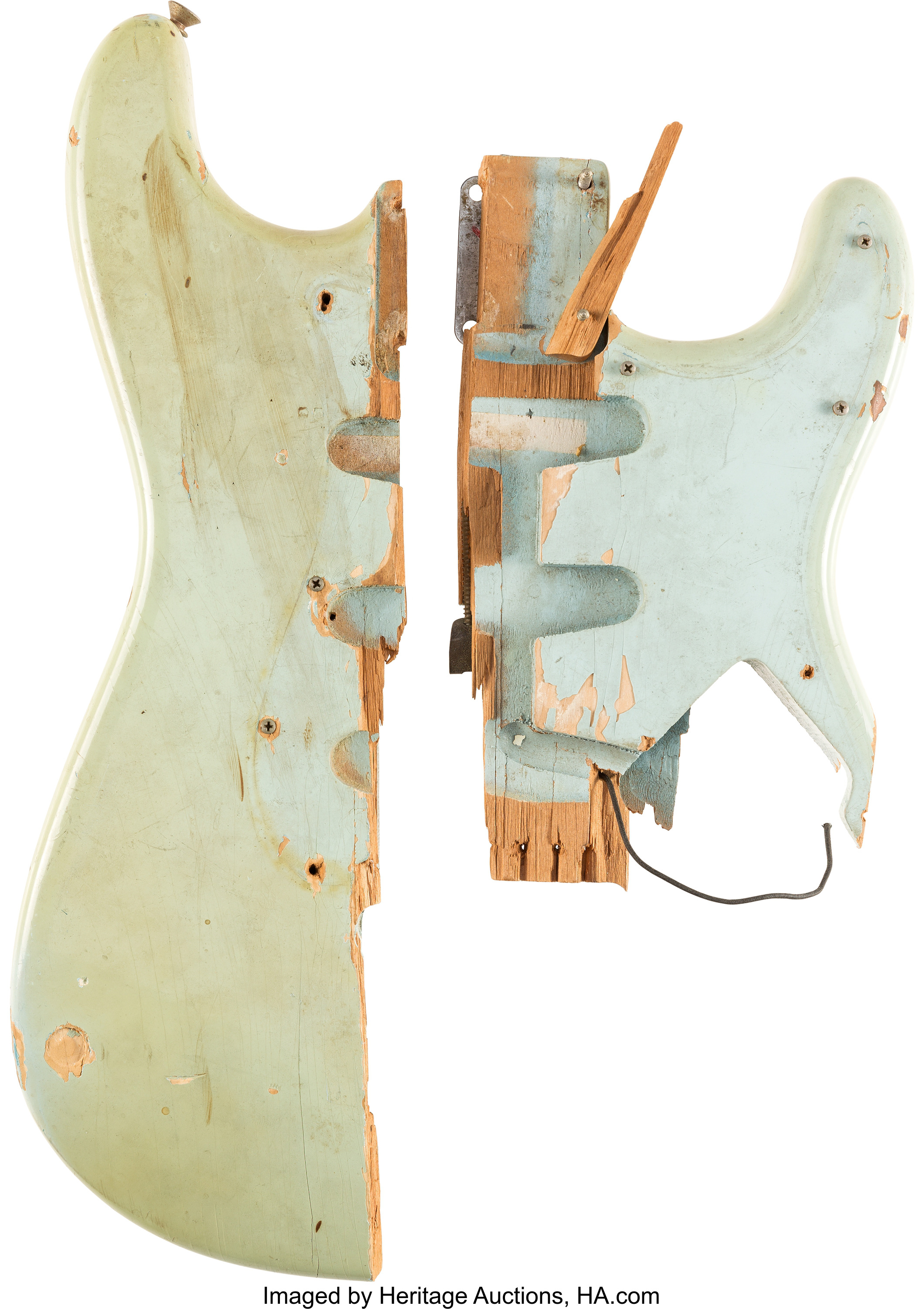 "A 1964 sonic blue Fender Stratocaster ""smasher,""--a guitar played on stage and smashed by Pete Townshend of The Who--on December 1, 1967 at Long Island Arena in Commack, New York."