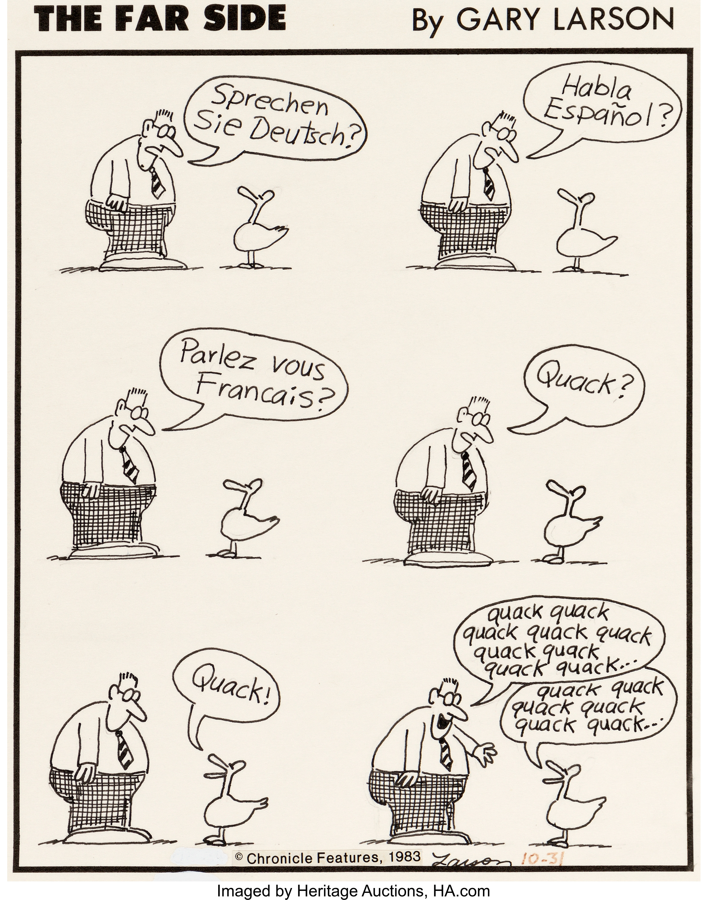 An original panel of comic strip art from 1983 for The Far Side, signed by cartoonist Gary Larson and dated 10-31.