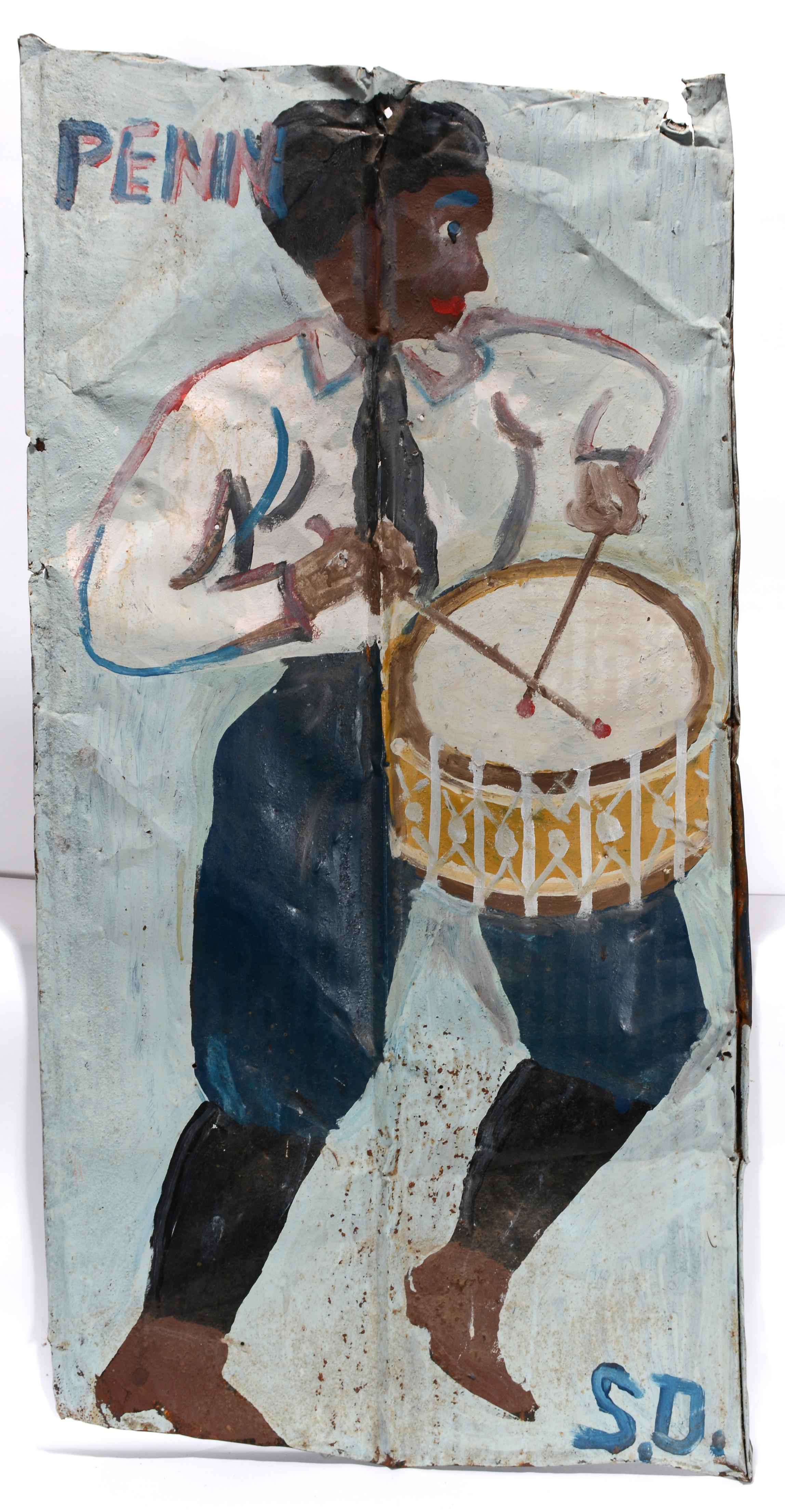 Penn Drummer Boy, rendered in house paint on discarded tin roofing material around 1983 by Sam Doyle.
