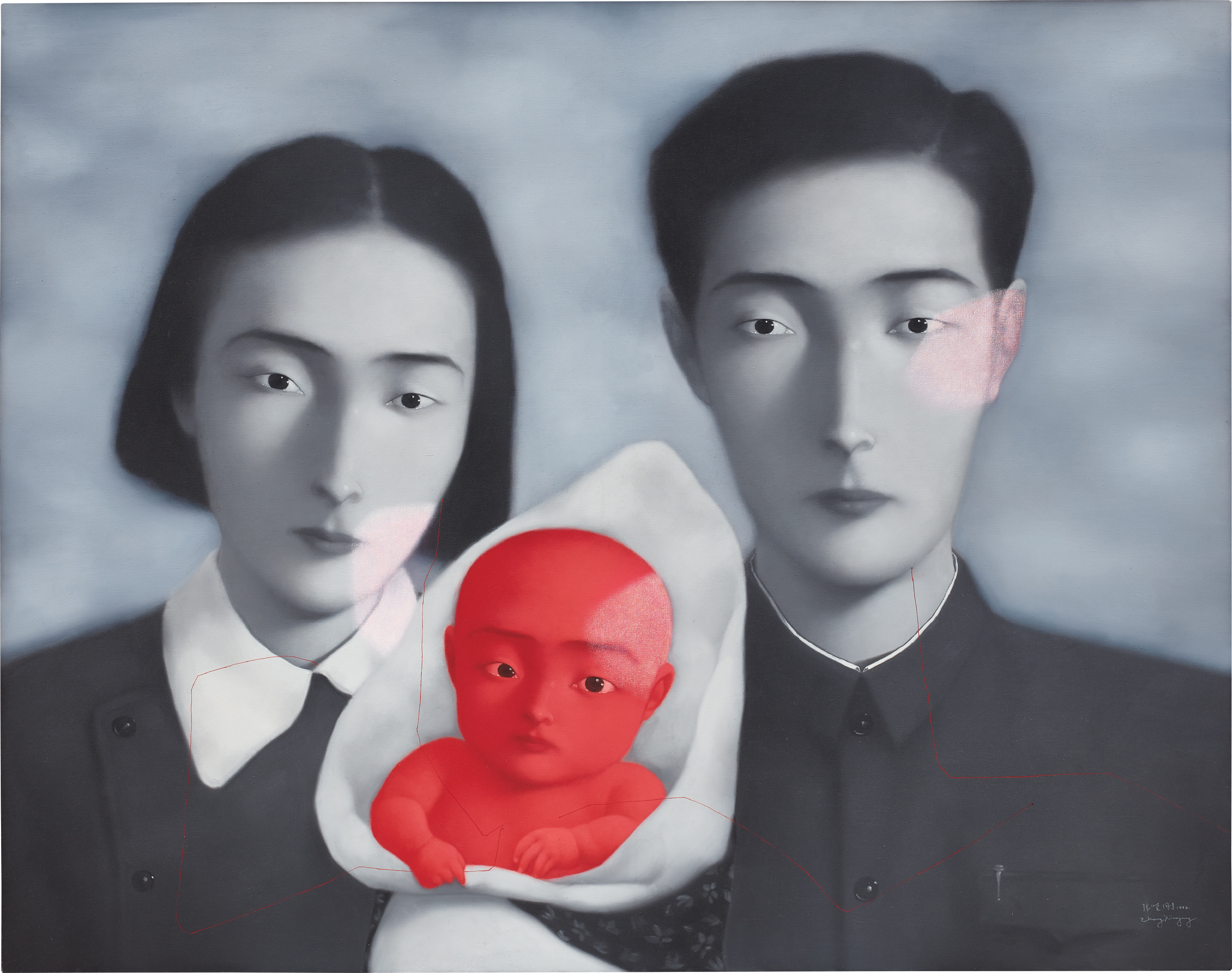 Bloodline: Big Family No. 9, a 1996 canvas by Zhang Xiaogang.