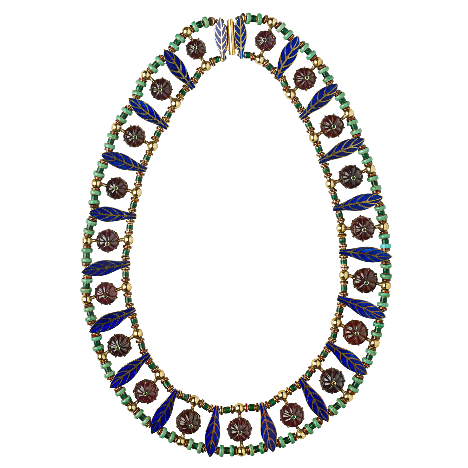 An enameled yellow gold and gem-set collar necklace with turquoise, carved garnet cabochons, and blue enamel by Marie Zimmermann, circa 1937.