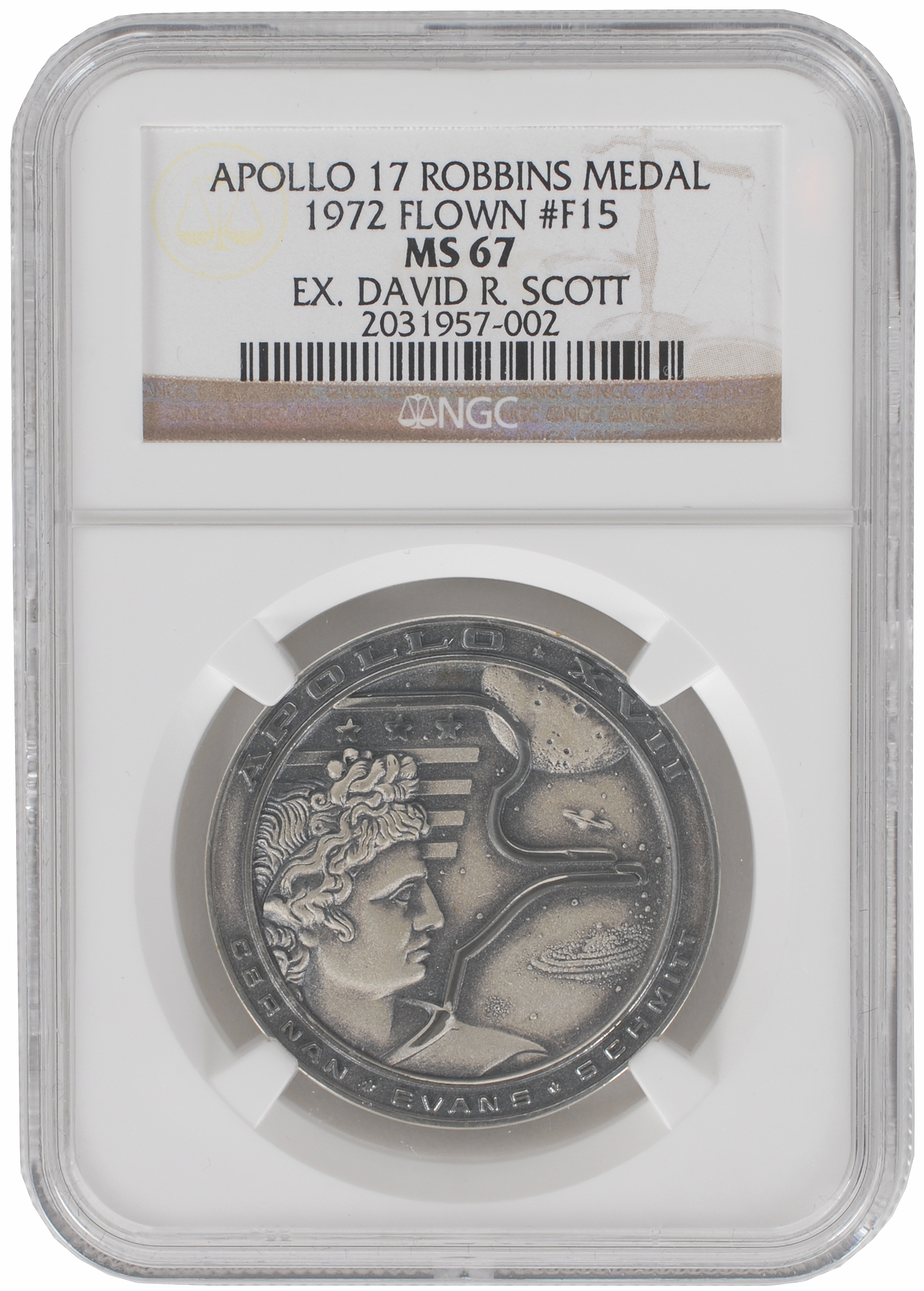 A space-flown Apollo 17 Robbins medal owned by Dave Scott, commander of Apollo 15 and the seventh man to walk on the moon. RR Auction sold it in September 2016 for $68,750--a record for a Robbins medal.