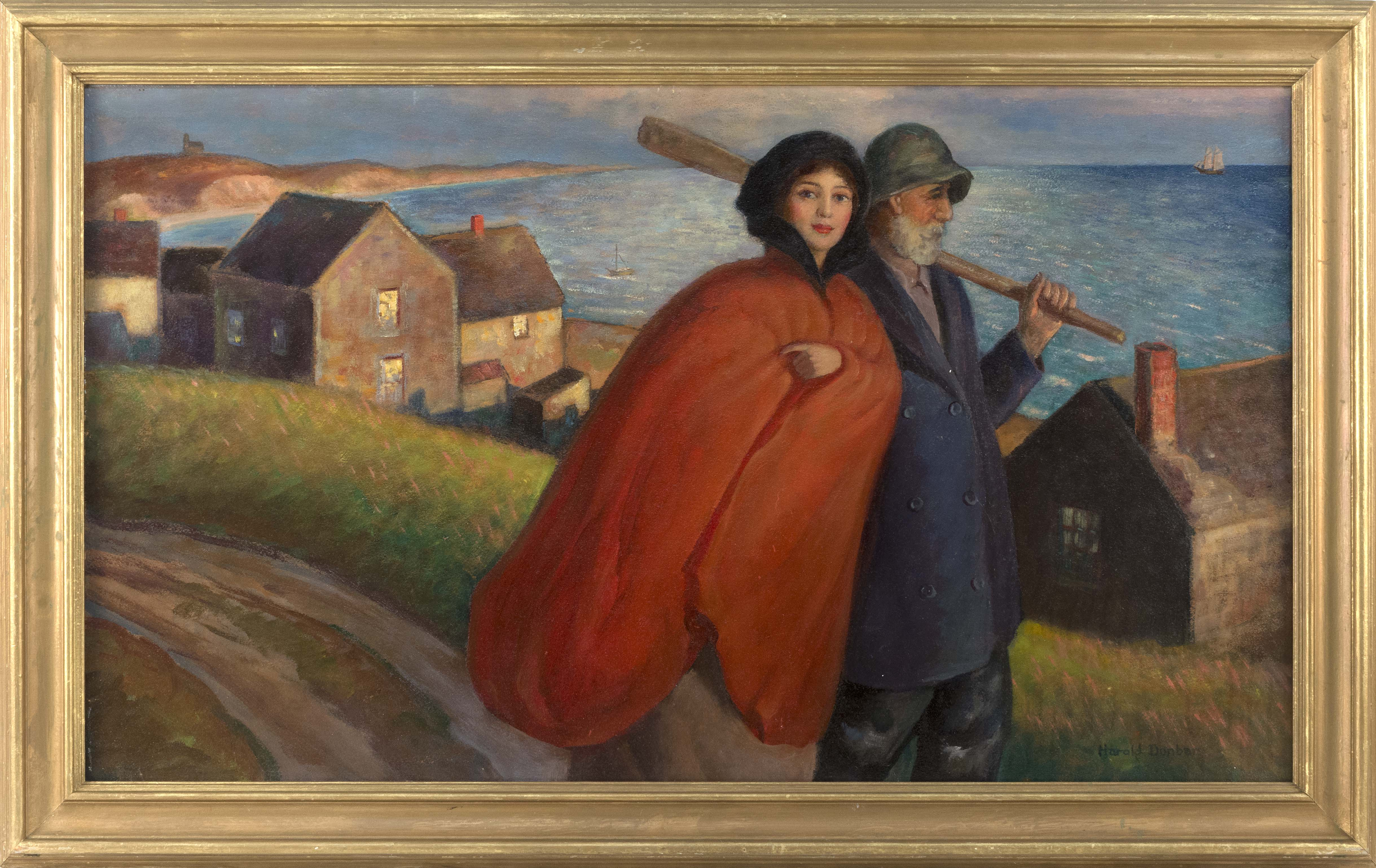 A Young Woman and a Captain on an Evening Stroll, Likely Chatham, Massachusetts, an undated but probably circa 1920s oil on board by Harold Dunbar. Eldred's sold it in August 2017 for $78,000 against an estimate of $3,000 to $5,000--stomping the artist's previous auction record several times over.
