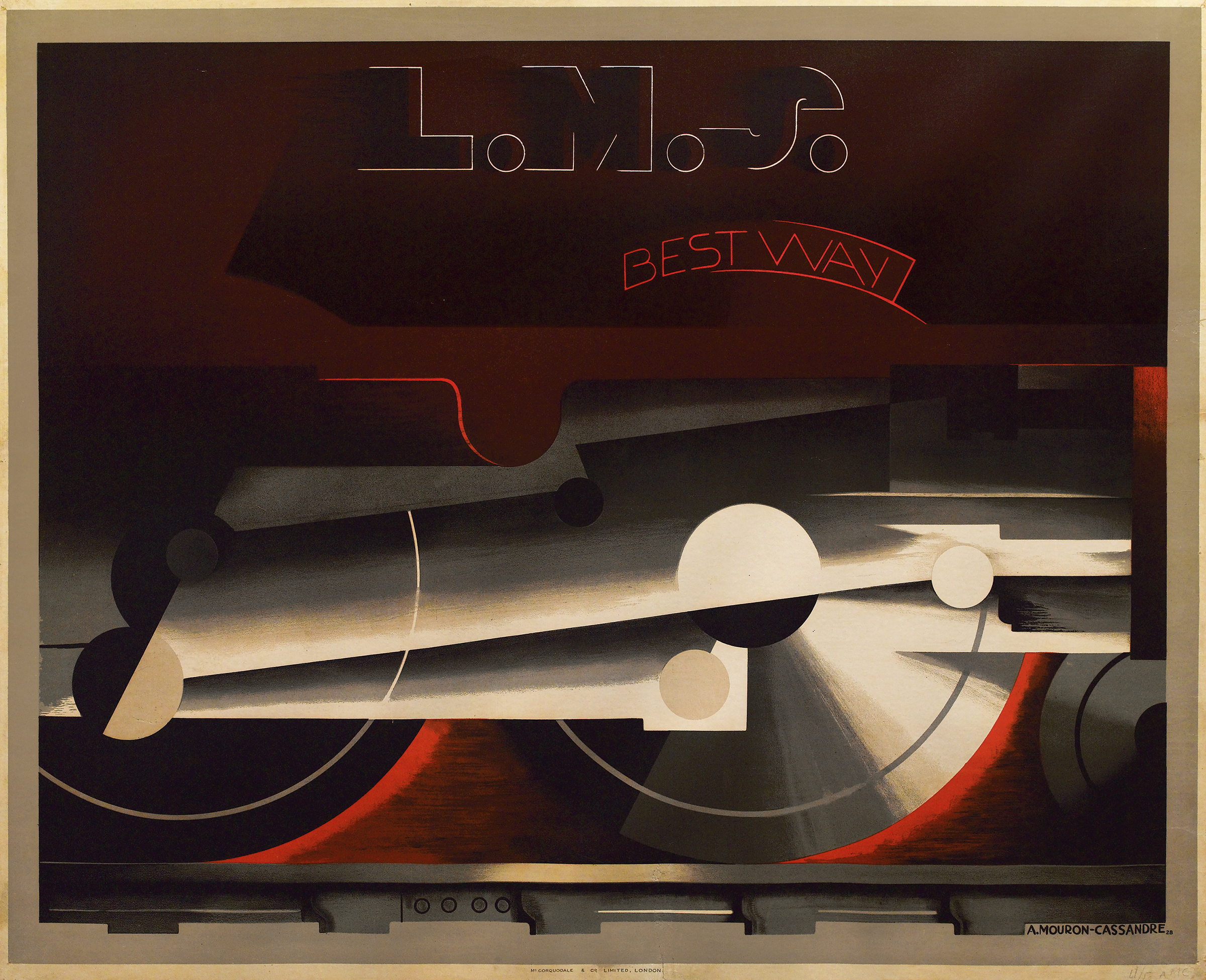 L.M.S./Best Way, a 1928 poster by Adolphe Mouron (A.M.) Cassandre. Swann Galleries sold it in November 2012 for $162,500, an auction record for any travel poster.