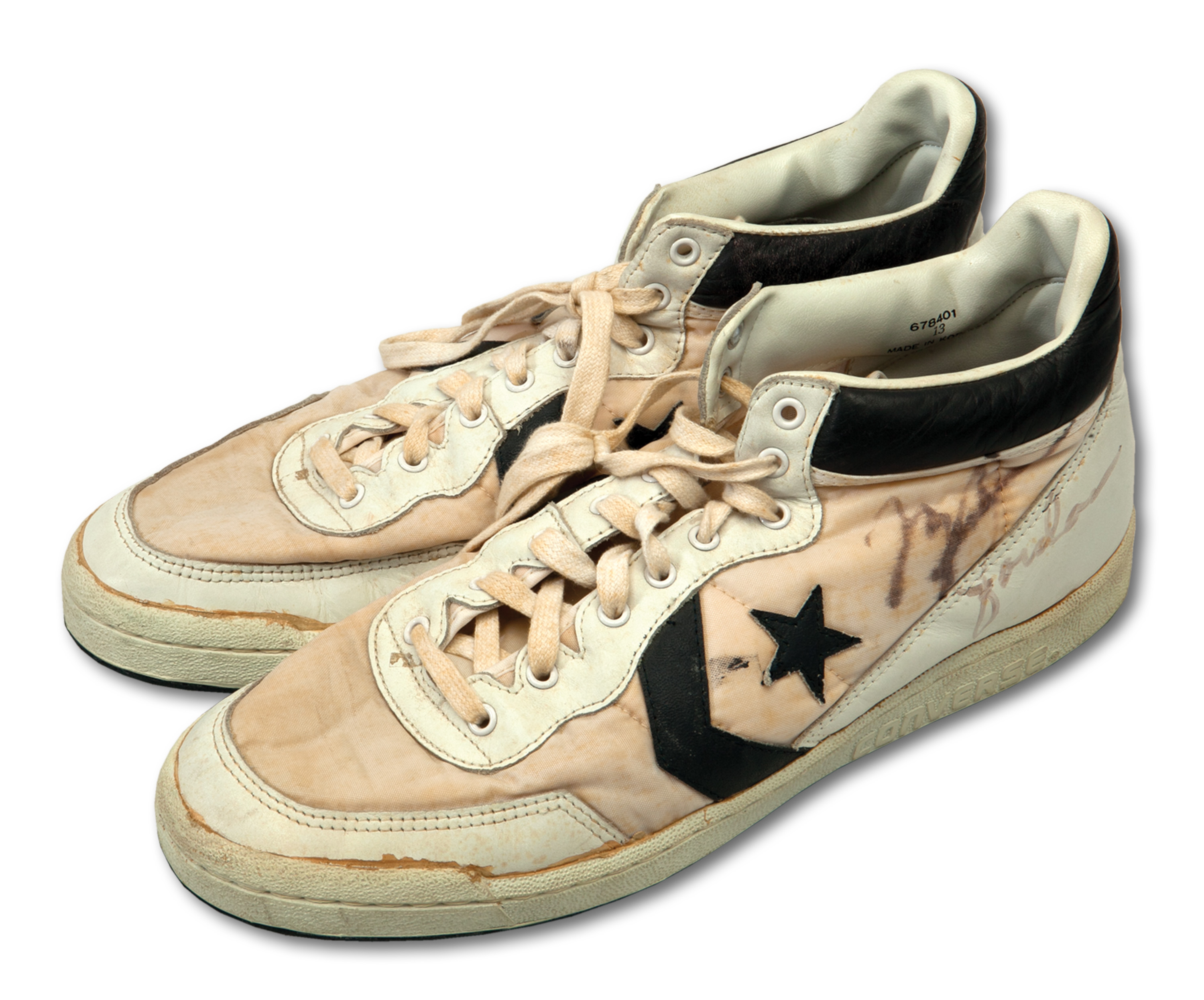 A pair of size 13 Converse sneakers that Michael Jordan wore during the 1984 Olympics, when the U.S.A. basketball team won the gold medal. He signed each sneaker.