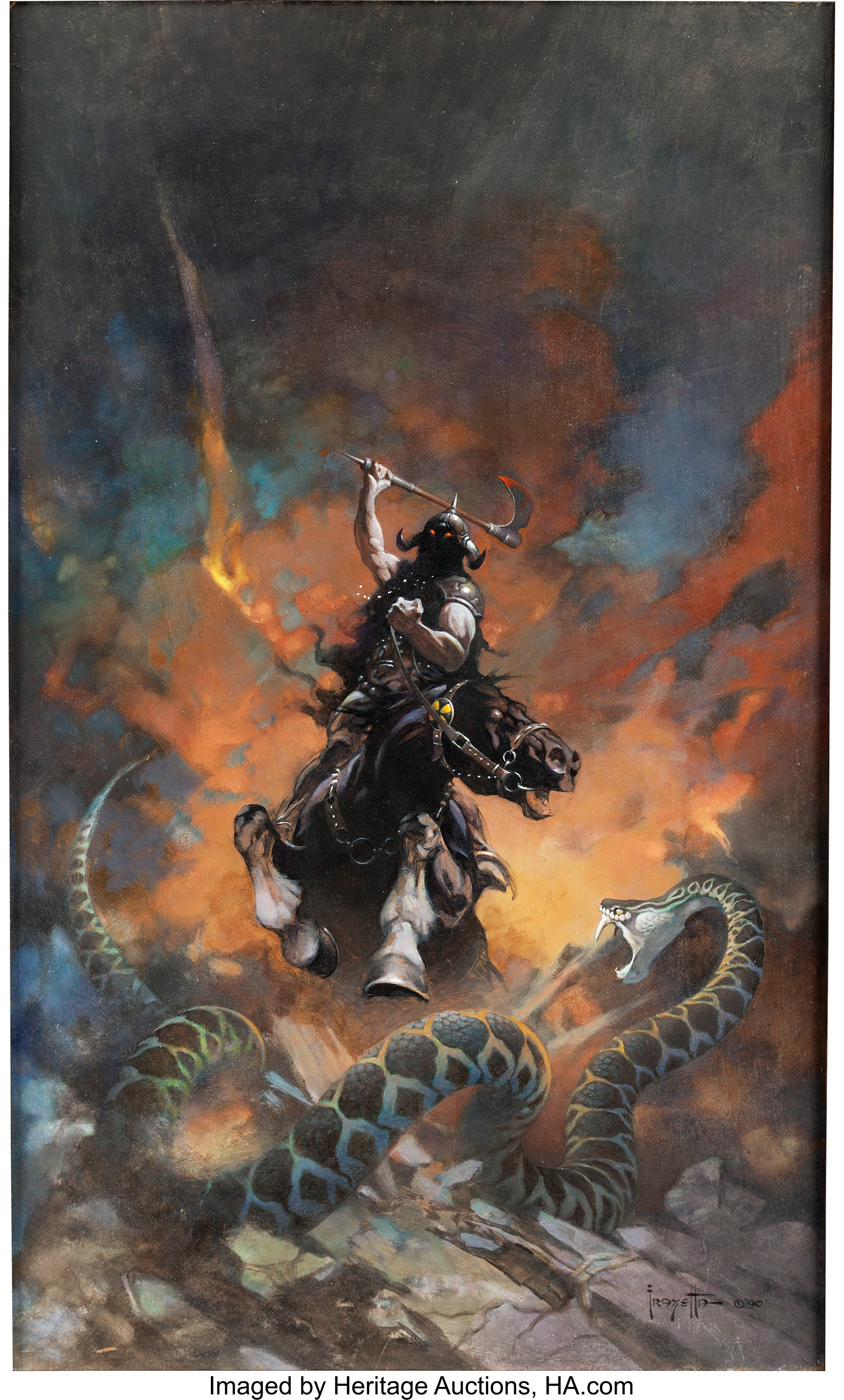 Death Dealer 6, an original painting done in 1990 by the late Frank Frazetta. Heritage Auctions sold it in May 2018 for $1.7 million, an auction record for the artist, and for any piece of comic art.