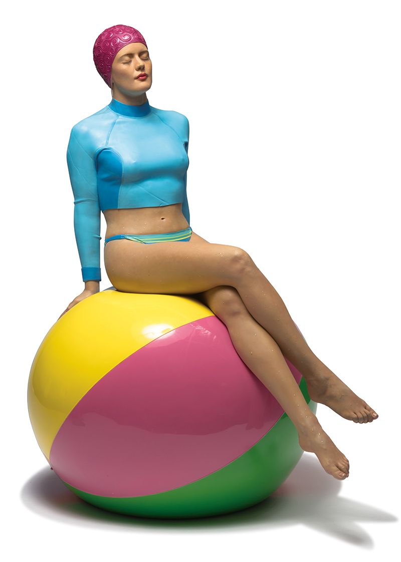 Bibi on the Ball, a hyperrealistic sculpture by Carole Feuerman.