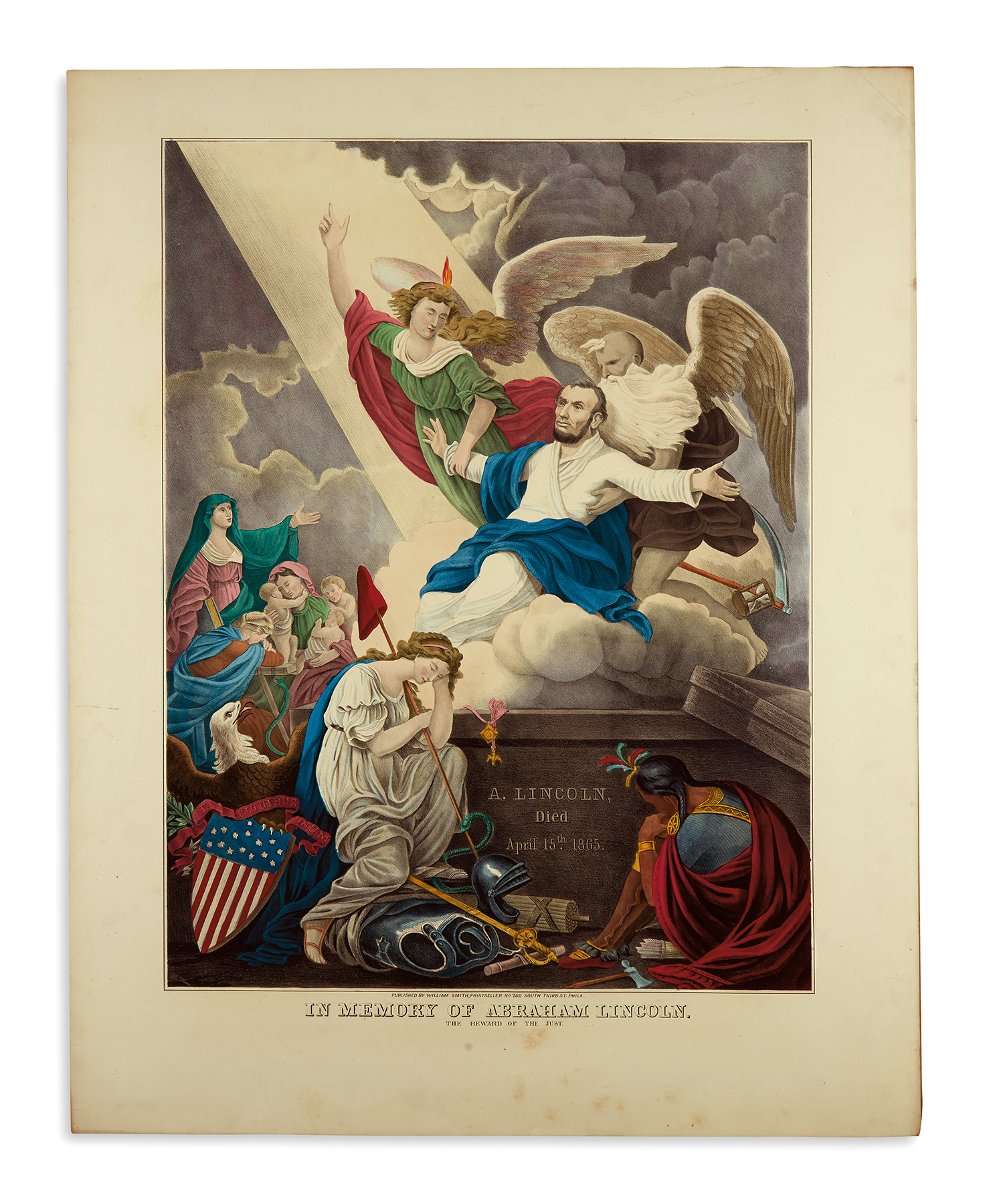 In Memory of Abraham Lincoln, the Reward of the Just, a hand-colored lithograph by D.T. Wiest, printed circa 1865.