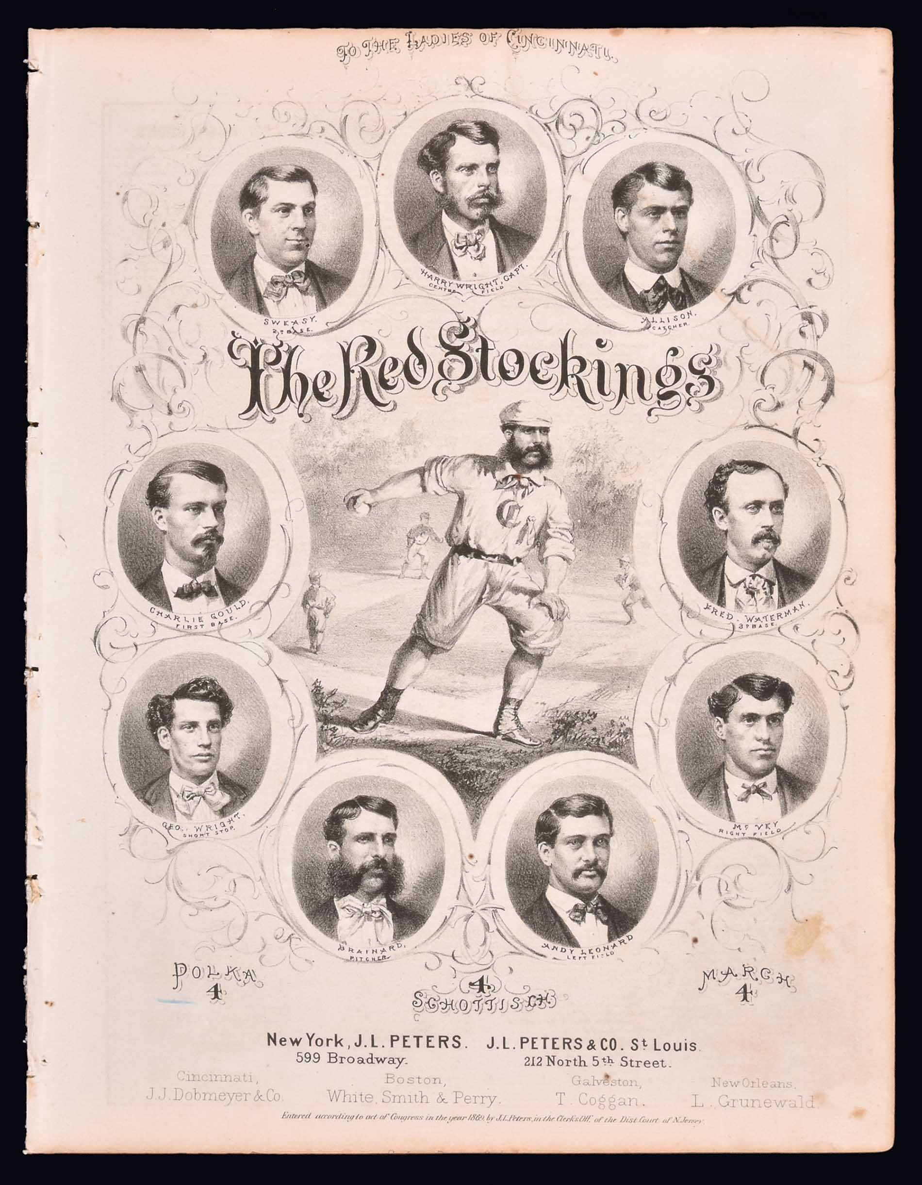An 1869 copy of The Red Stockings sheet music, lauding a Cincinnati team of that name.