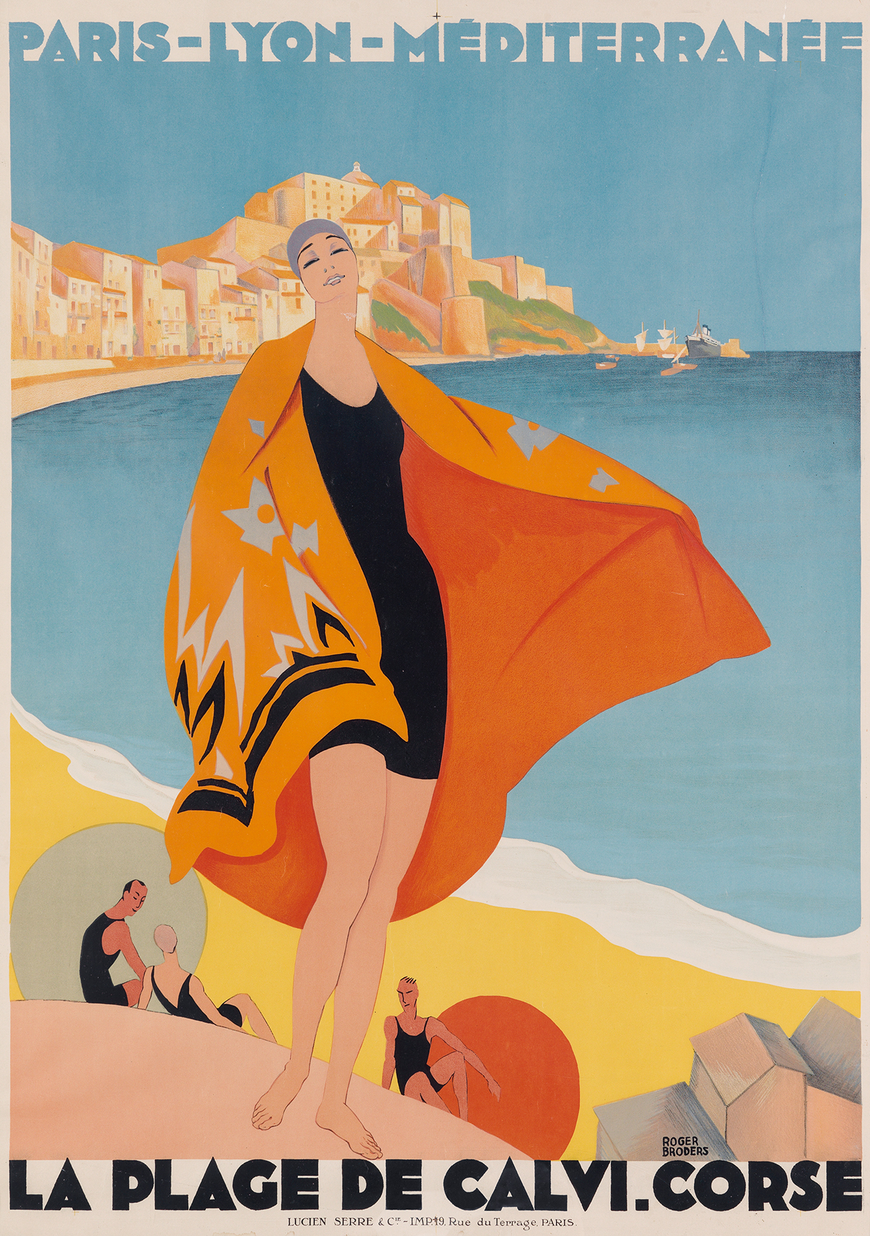 A 1928 travel poster touting Corsica, designed by Roger Broders, who clearly took inspiration from Botticelli.