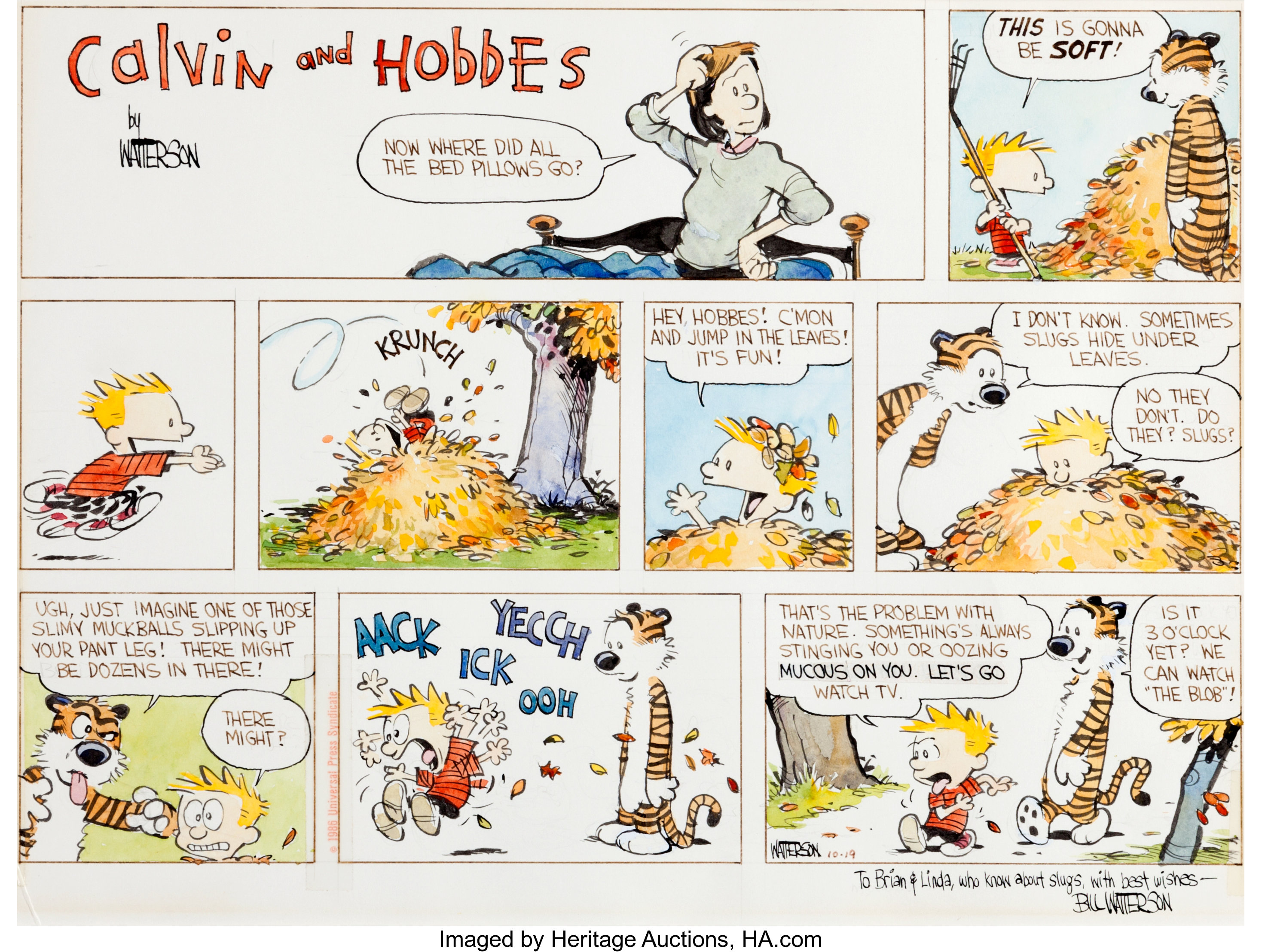 Original Sunday comic strip art for Calvin & Hobbes, drawn by Bill Watterson. It depicts Calvin and Hobbes leaping into a pile of raked leaves.