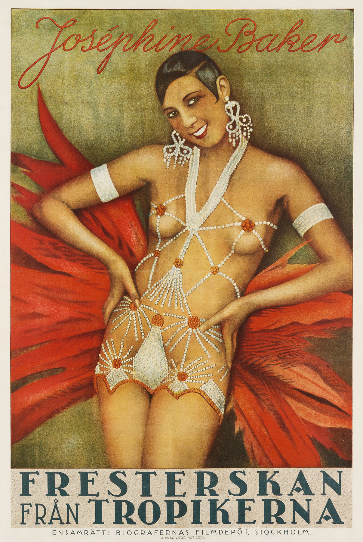 A 1927 Swedish movie poster for Josephine Baker's silent film The Siren of the Tropics. It depicts her smiling directly at the viewer, wearing a scanty costume of strategically placed strings of pearls. She also wears pearl arm cuffs, elaborate pearl earrings. A large fan of red feathers, evidently attached to her back, spreads behind her.
