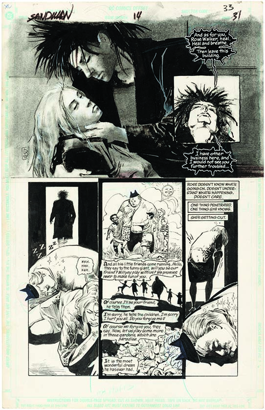 Original artwork for page 33 of the Volume 2, Number 14 issue of The Sandman, which was released in March 1990. It was penciled by Mike Dringenberg and inked by Malcolm Jones III. At the top we see a splash page featuring Rose Walker and Dream. Fun Land appears in some of the lower panels. The page depicts Dream planting dreams in the characters' heads, and we see the dream he planted in Fun Land's head. The page is rendered in black and white.