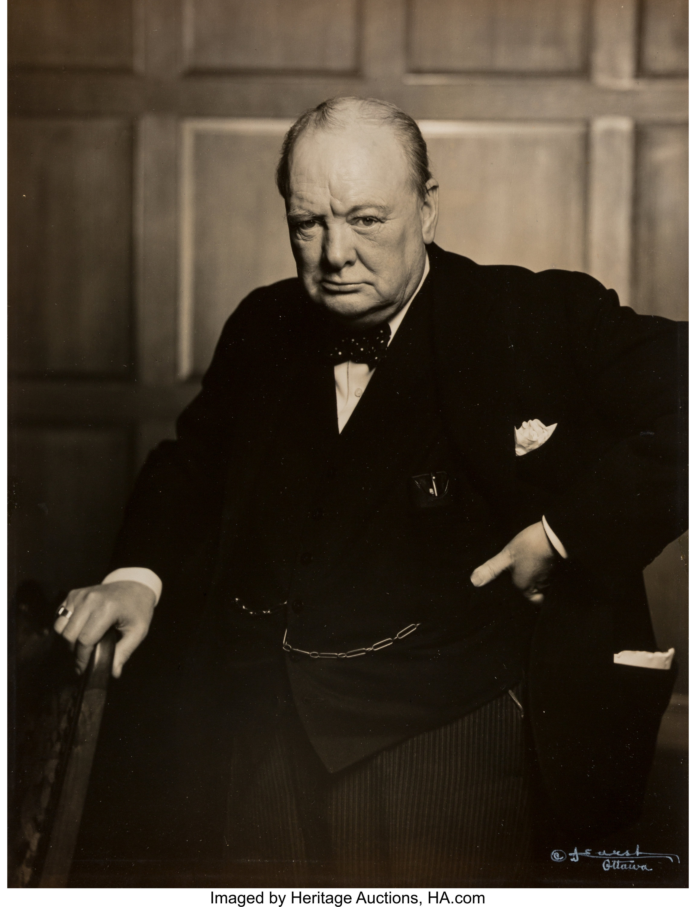 Yousuf Karsh's famous black and white 1941 portrait of Winston Churchill shows the British prime minister scowling directly at the camera, with one hand on his waist and the other resting on the head of a cane. It is the scowl to end all scowls, designed to reduce offenders to a gibbering mess.
