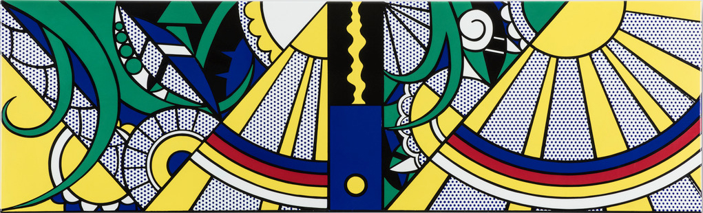 COMPOSITION, a unique ceramic panel by Roy Lichtenstein, is a long, horizontal work that features a yellow sun with streaming rays, a rainbow in primary colors, and green tendrils. It is curvy and geometric and is shown as it was displayed in Gunter Sachs's St. Moritz bathroom: upside down.