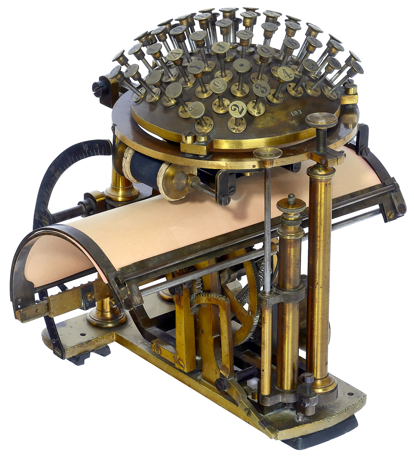 "A Malling-Hansen ""Writing Ball"", an early typewriter, shown in three-quarter view. Its semi-circular keyboard appears above its curved typing surface."
