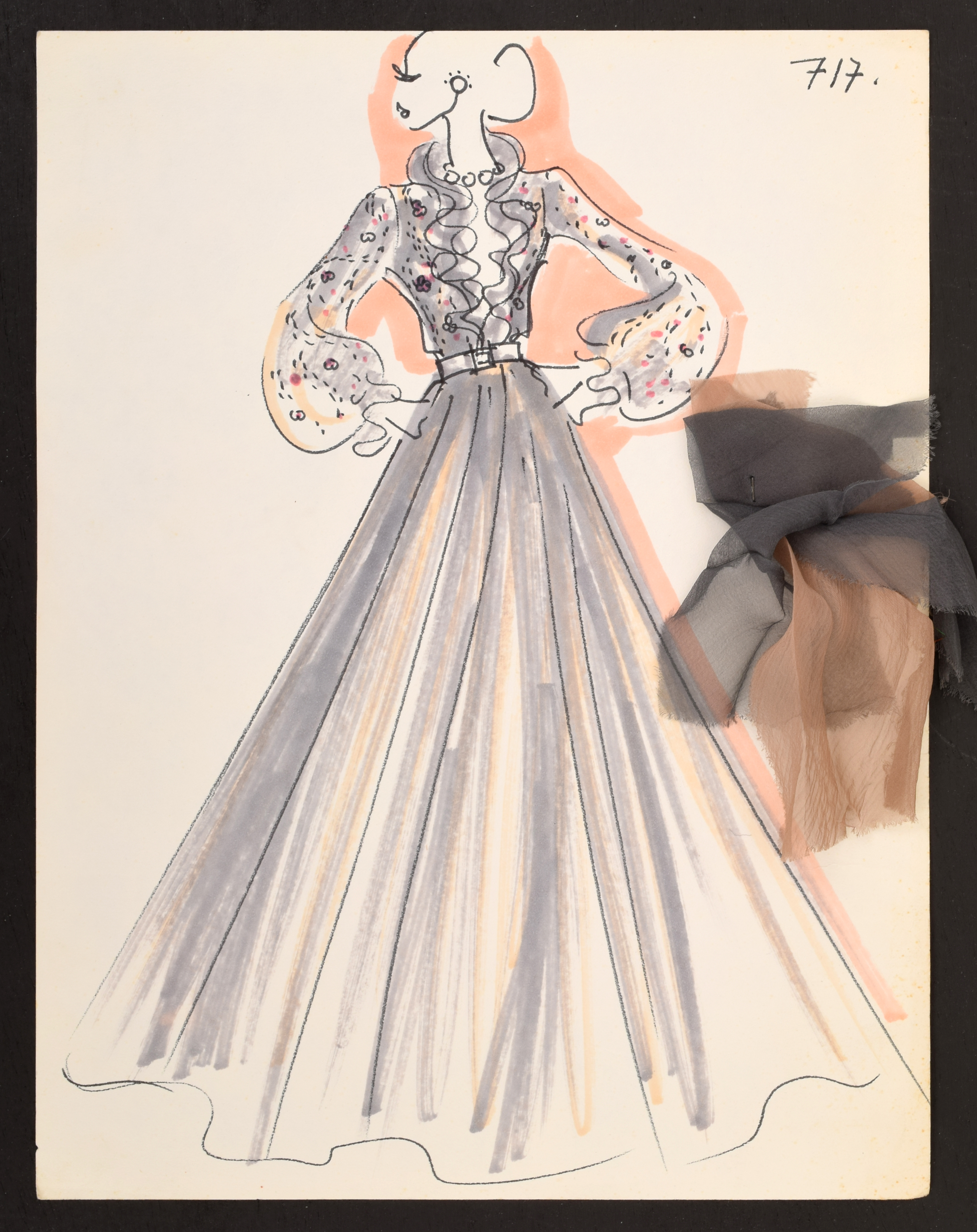An early Karl Lagerfeld fashion drawing, done in the 1960s for the House of Tiziani. It shows a woman in an evening gown posing with her hands on her hips and looking to the left. A swatch of brown, semi-opaque fabric is attached to the right side of the drawing.
