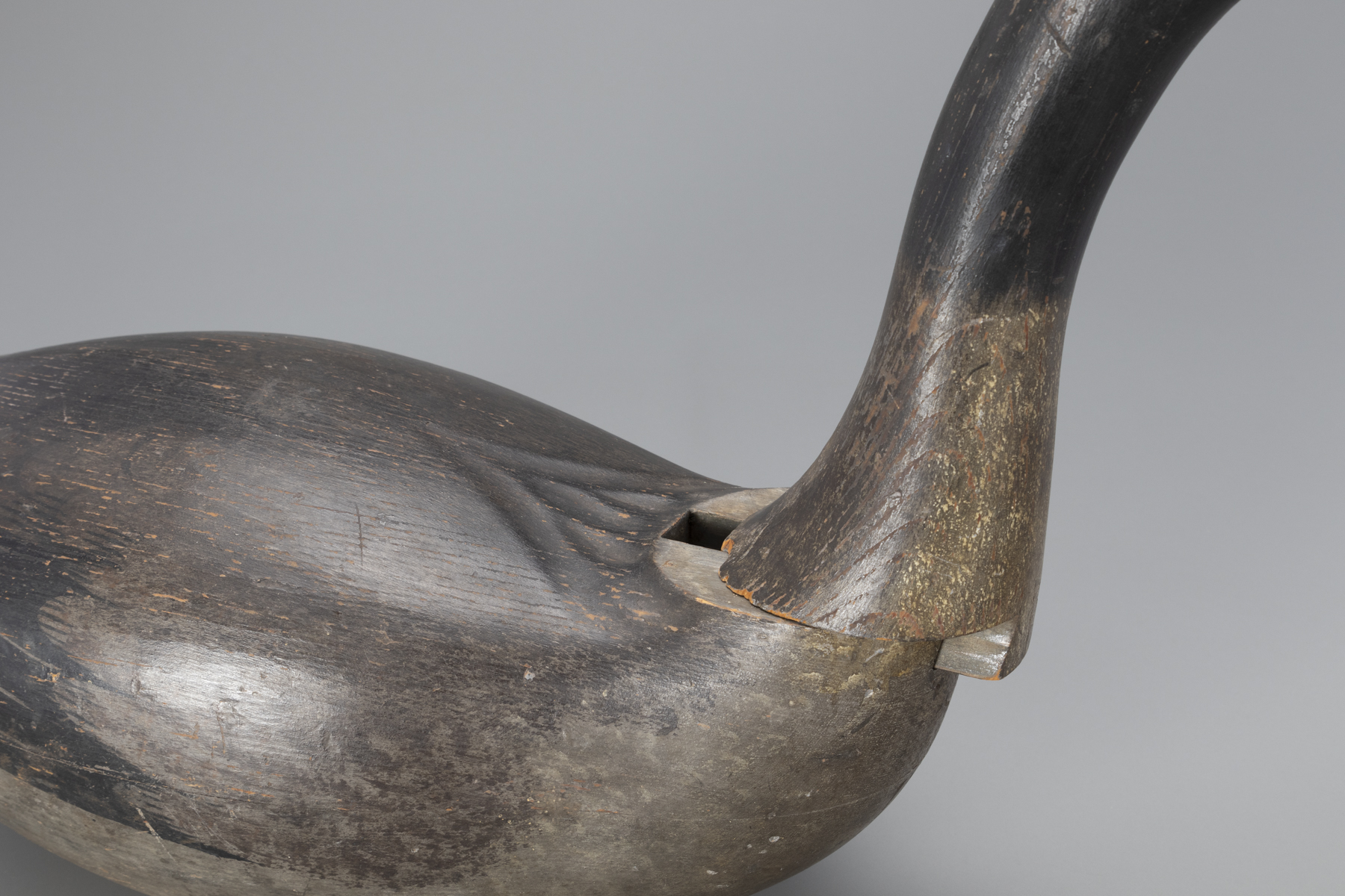 Detail shot of the Earnest-Gregory dovetailed goose decoy to show the head in place, but slightly slid out of the dovetail join.